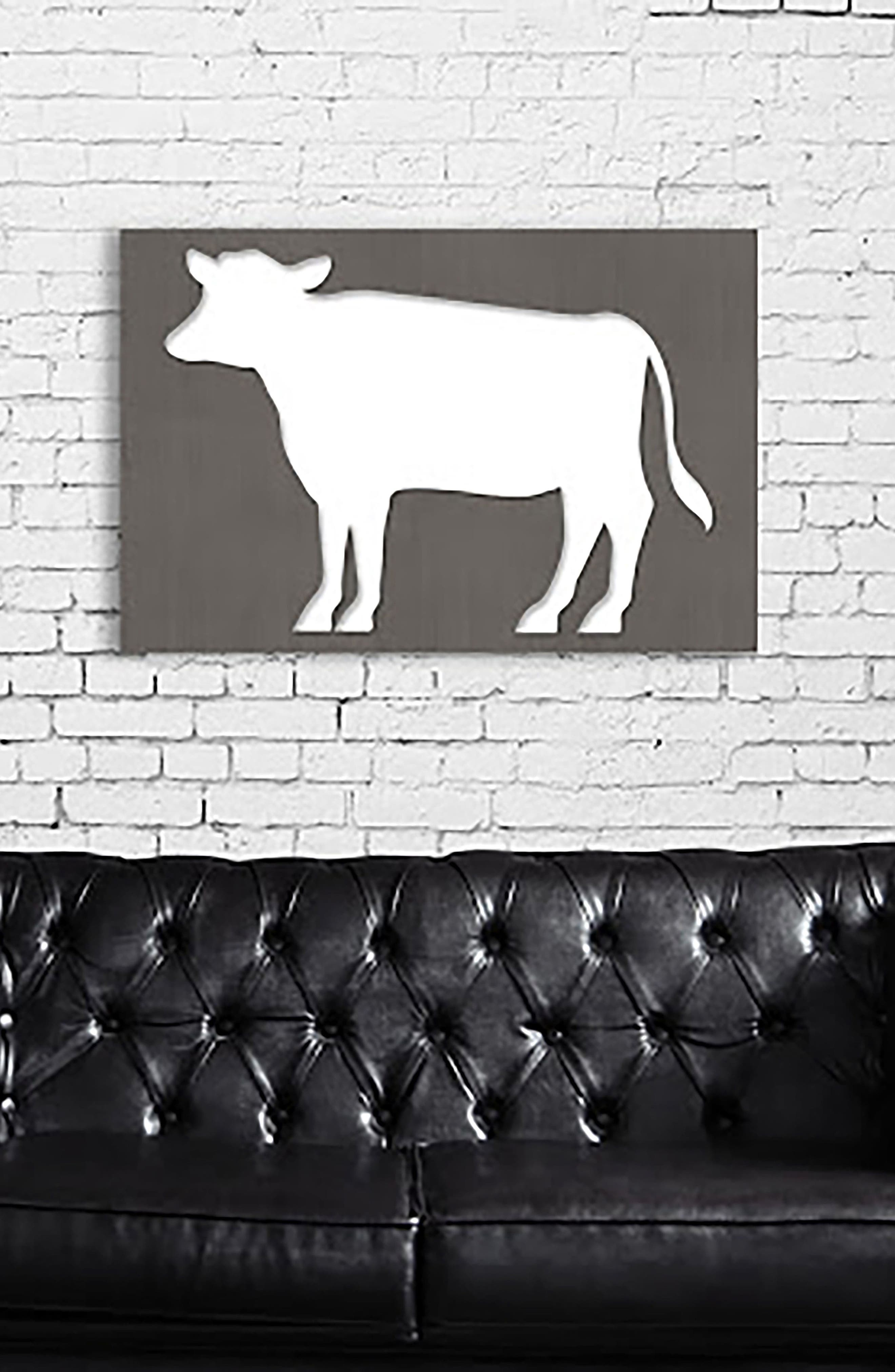 Cow Canvas Wall Art,                             Alternate thumbnail 2, color,                             Grey