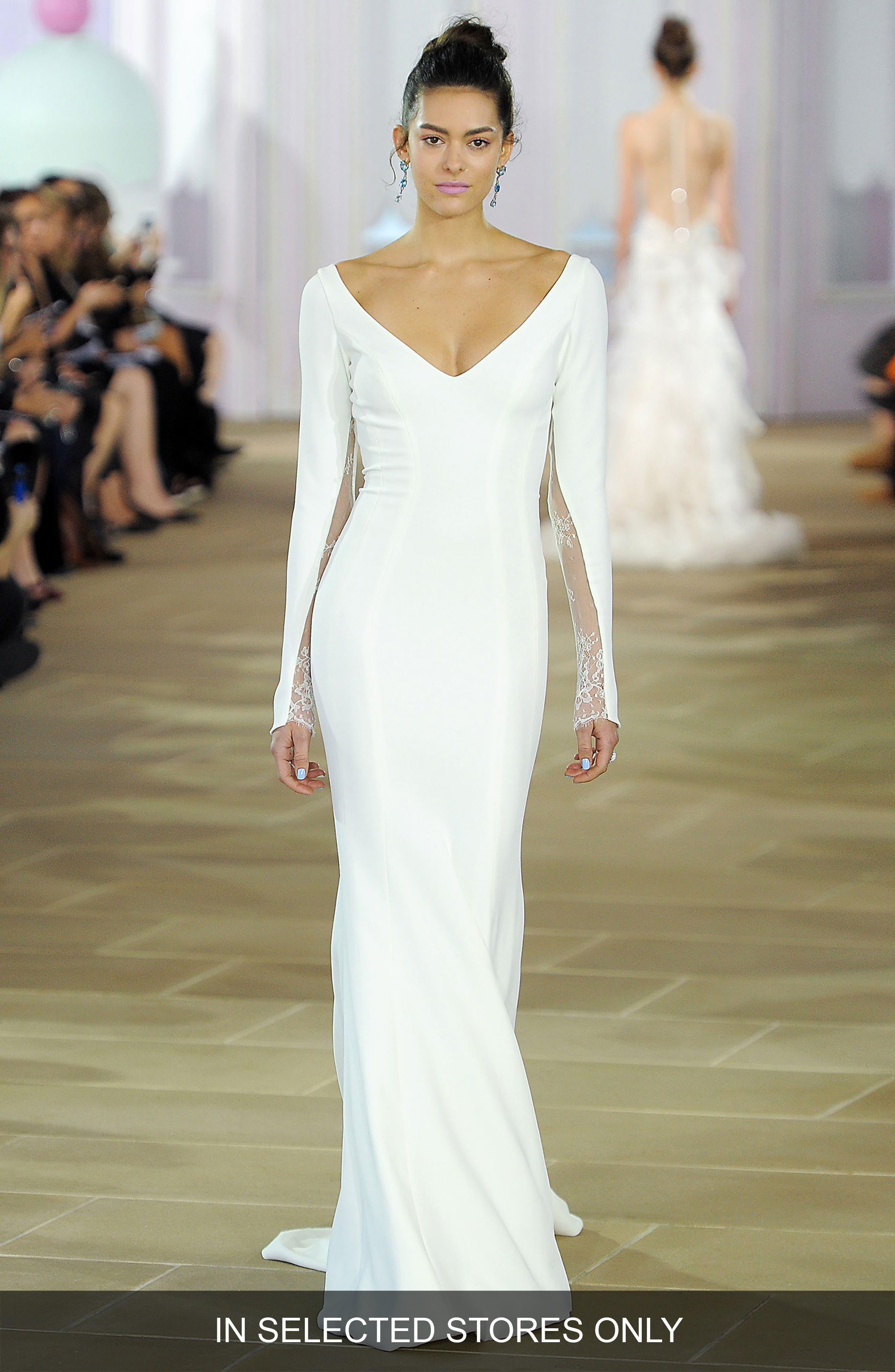 Main Image - Ines di Santo Lace Inset Silk Crepe Sheath Gown