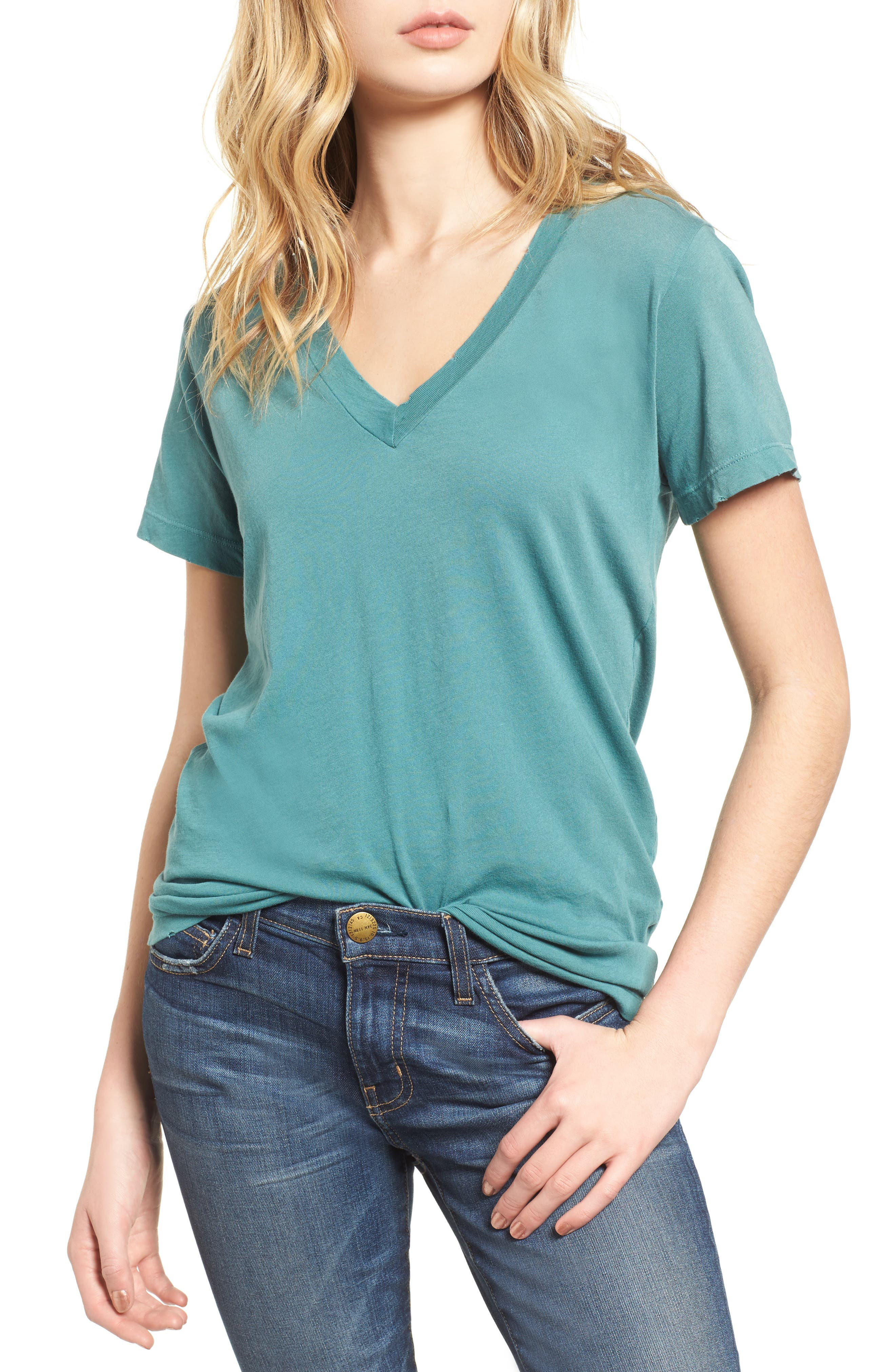 The V-Neck Tee,                         Main,                         color, Silver Pine