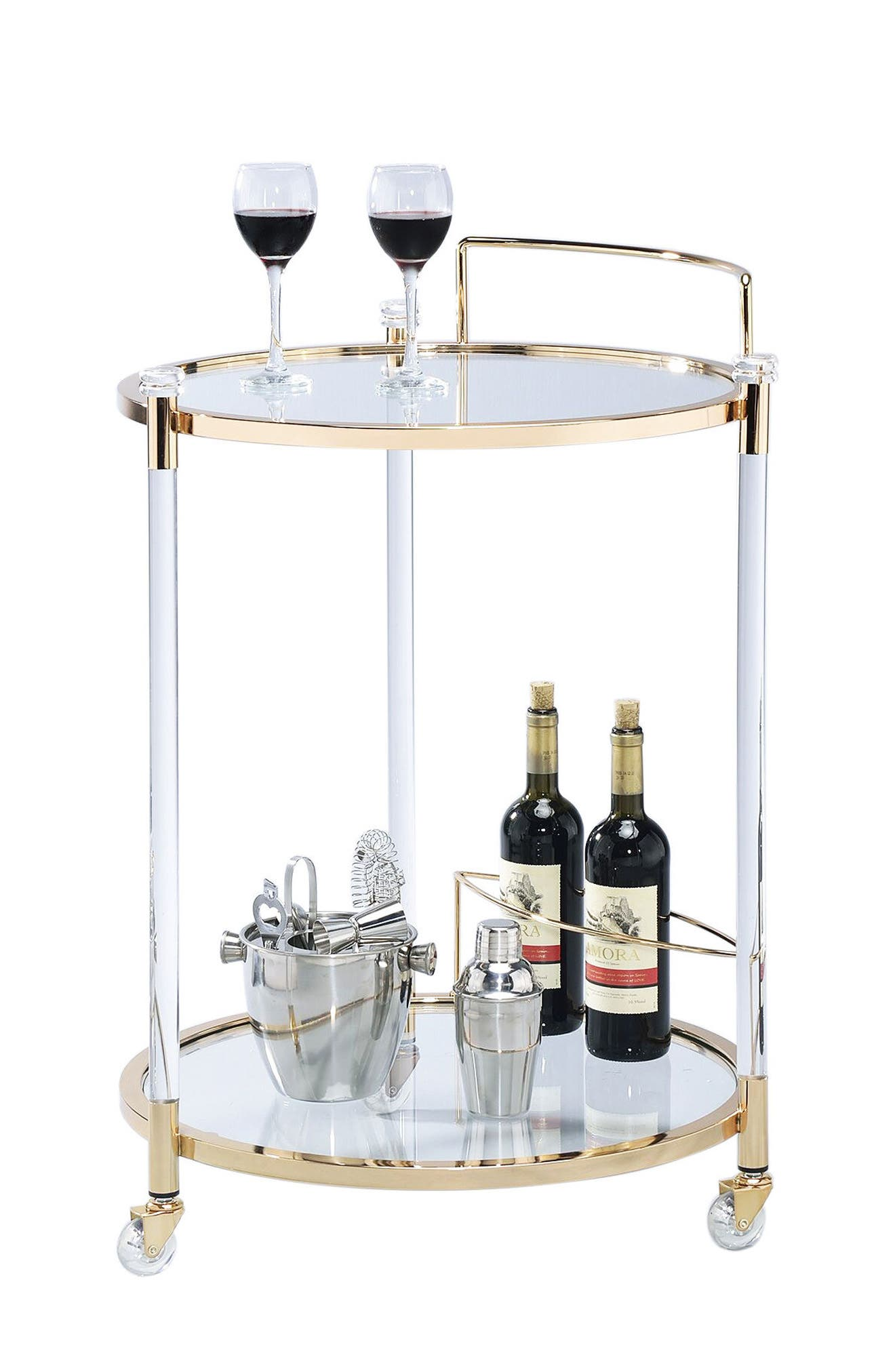 Bar Cart,                             Main thumbnail 1, color,                             Gold