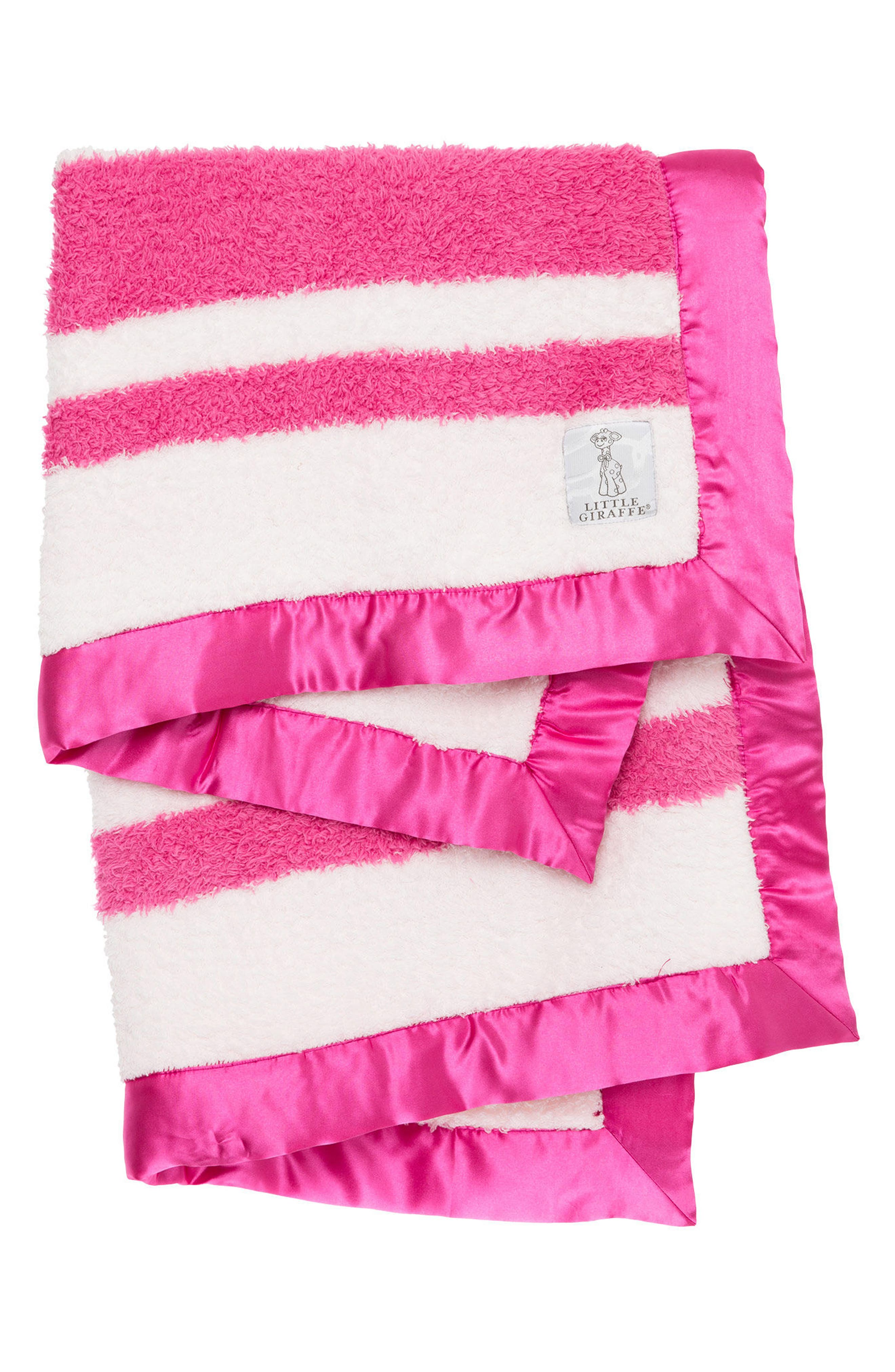 Stripe Chenille Blanket,                             Main thumbnail 1, color,                             Raspberry