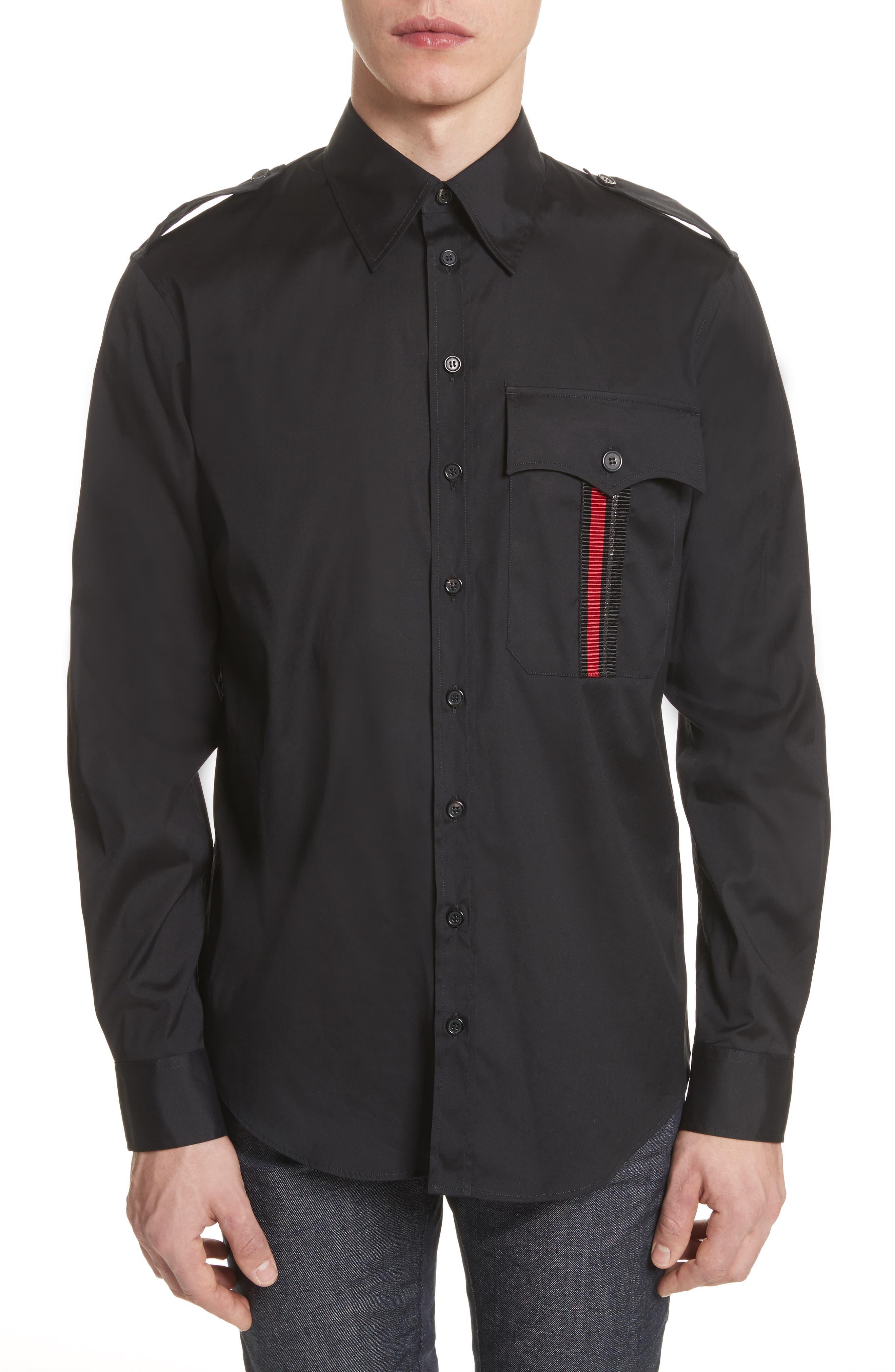 Military Shirt,                             Main thumbnail 1, color,                             Black