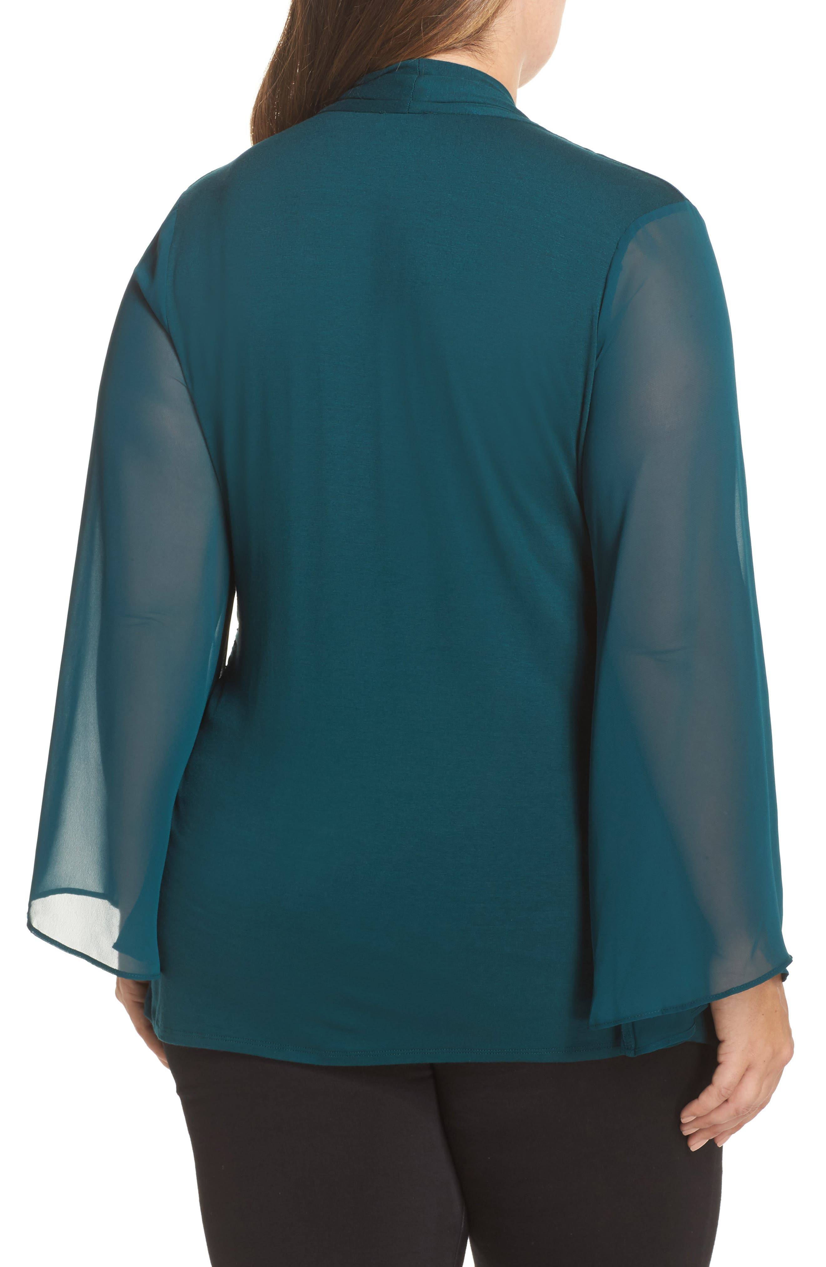 Alternate Image 2  - Vince Camuto Ruched Bell Sleeve Chiffon Blouse (Plus Size)