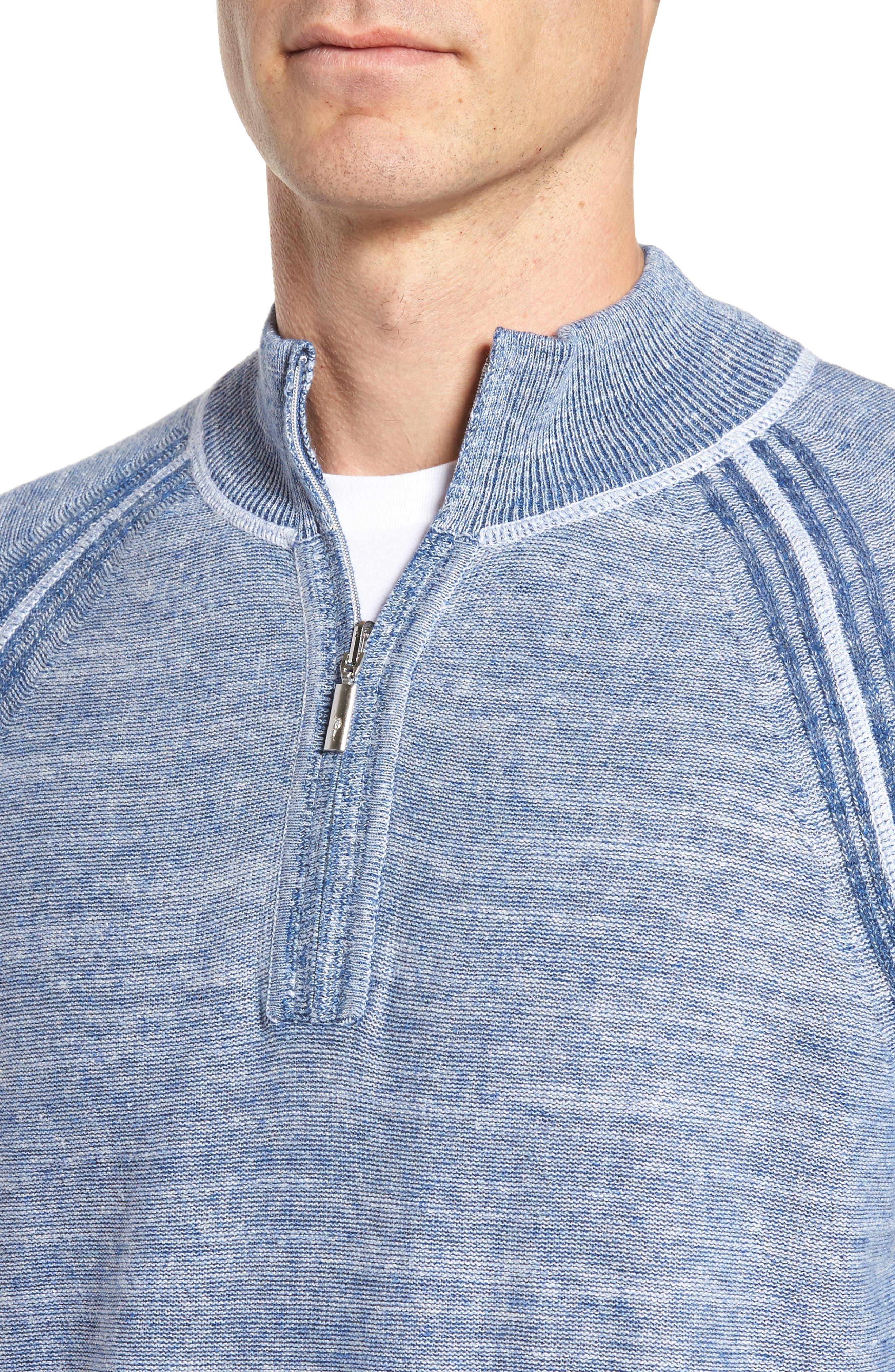 Sandy Bay Half-Zip Pullover,                             Alternate thumbnail 4, color,                             Galaxy Blue Heather