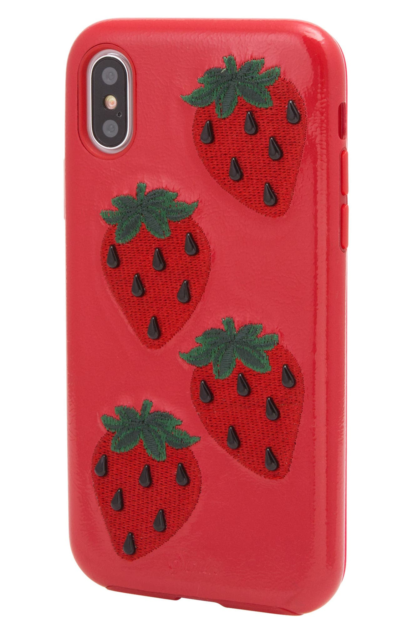 Strawberry Faux Leather iPhone X Case,                             Alternate thumbnail 2, color,                             Red