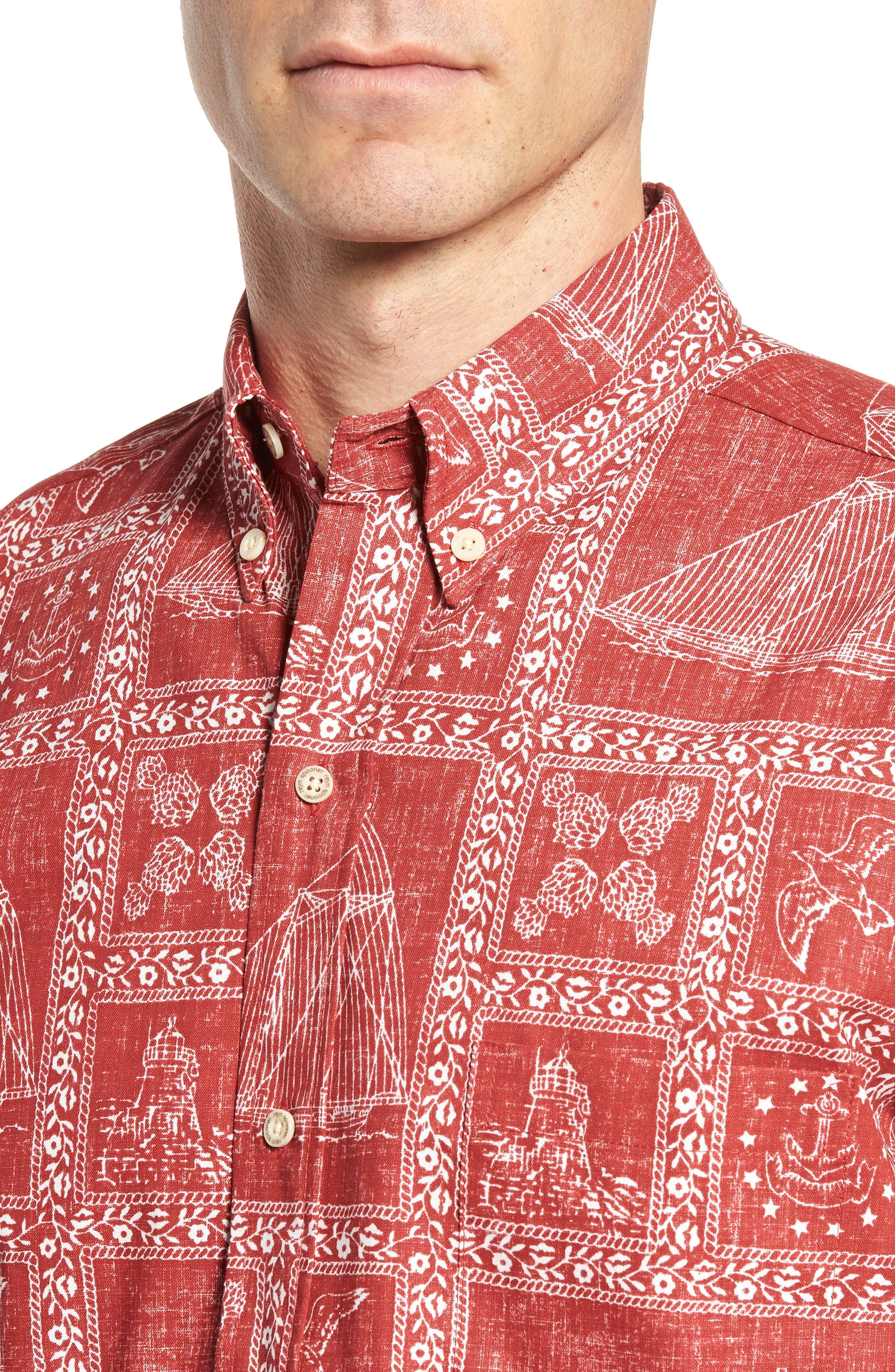 Newport Sailor Classic Fit Print Sport Shirt,                             Alternate thumbnail 4, color,                             Red