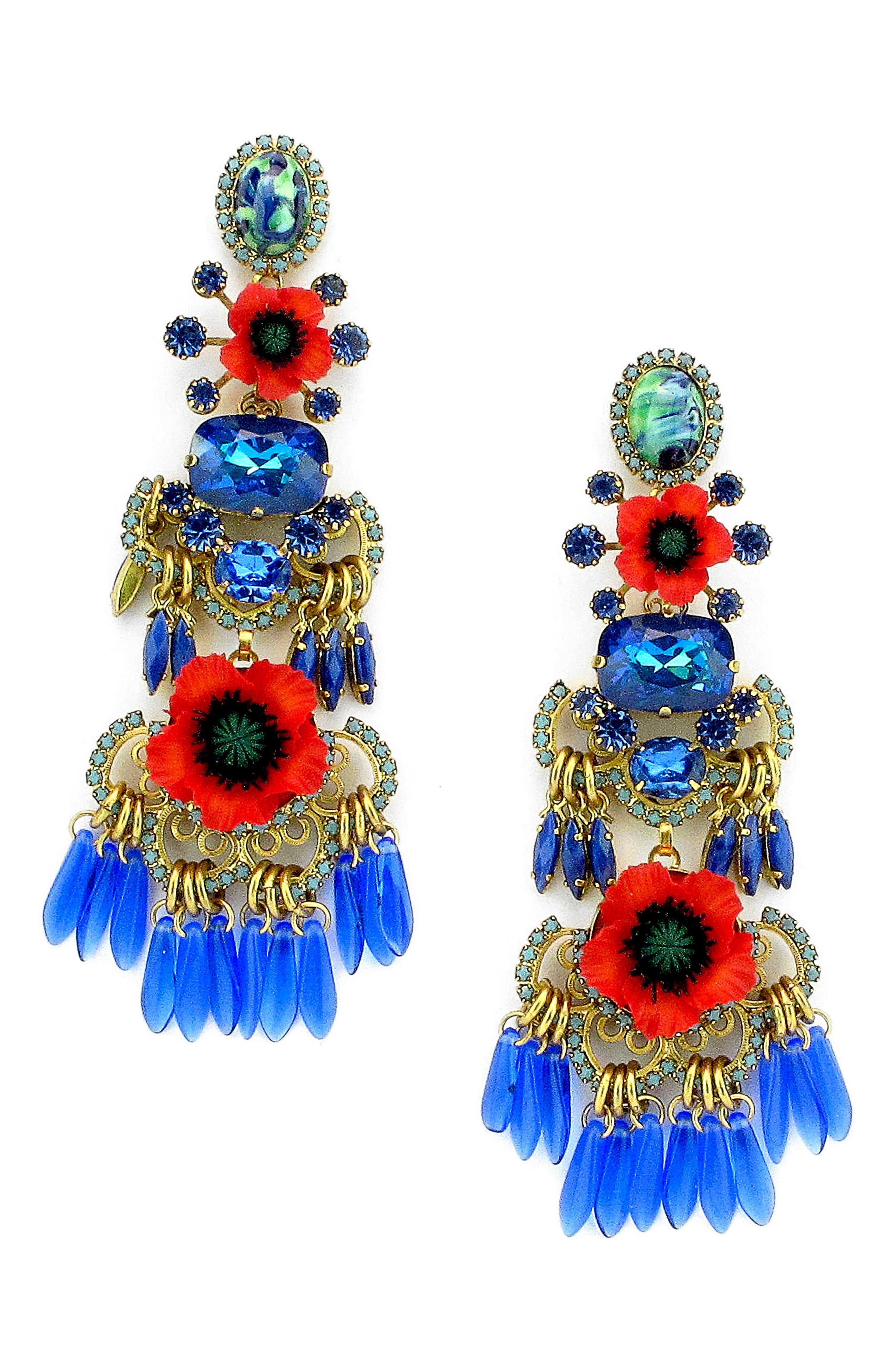 Tutti Crystal Drop Earrings,                         Main,                         color, Poppy