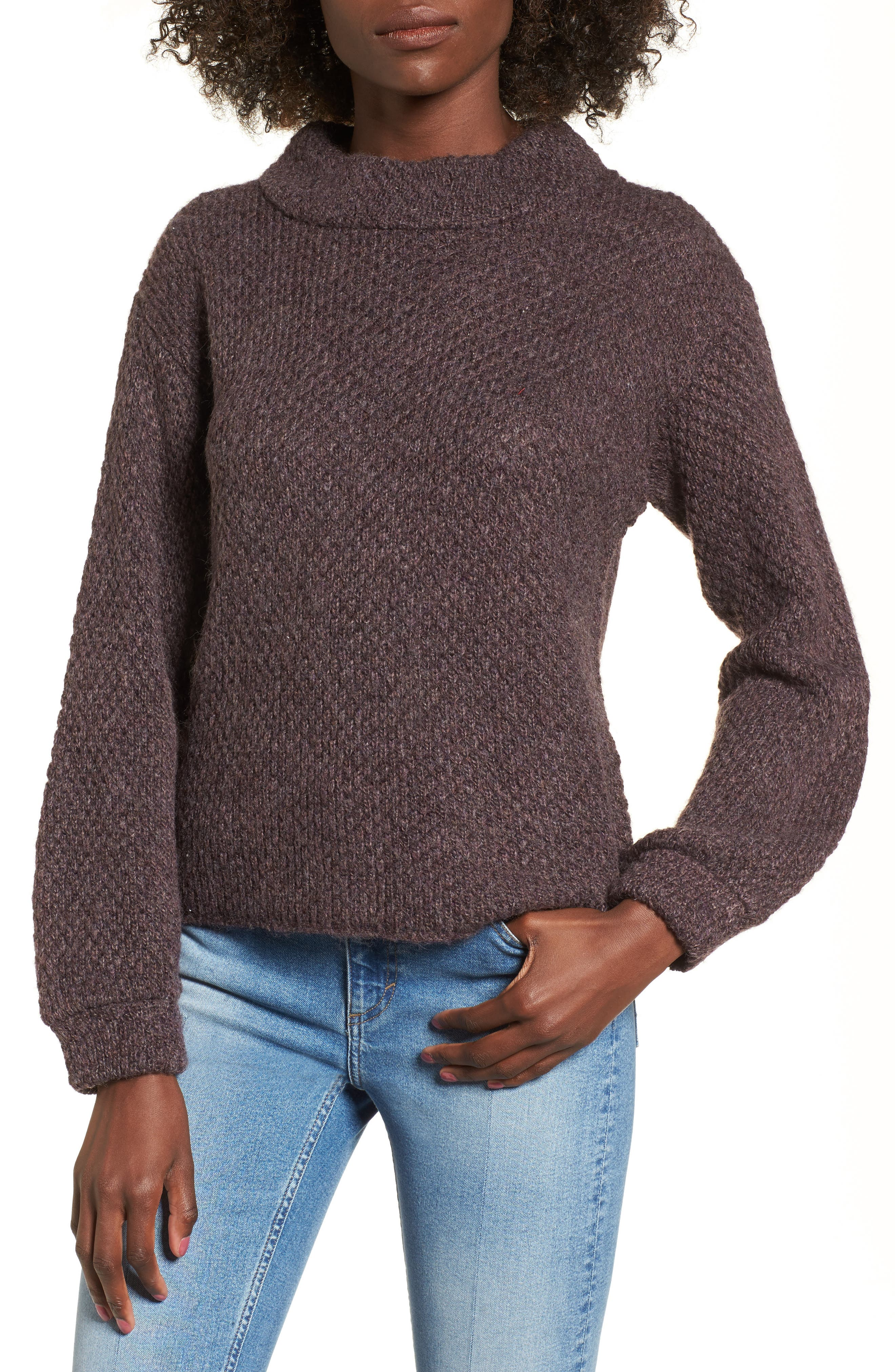 Balloon Sleeve Pullover,                         Main,                         color, Heather Brown