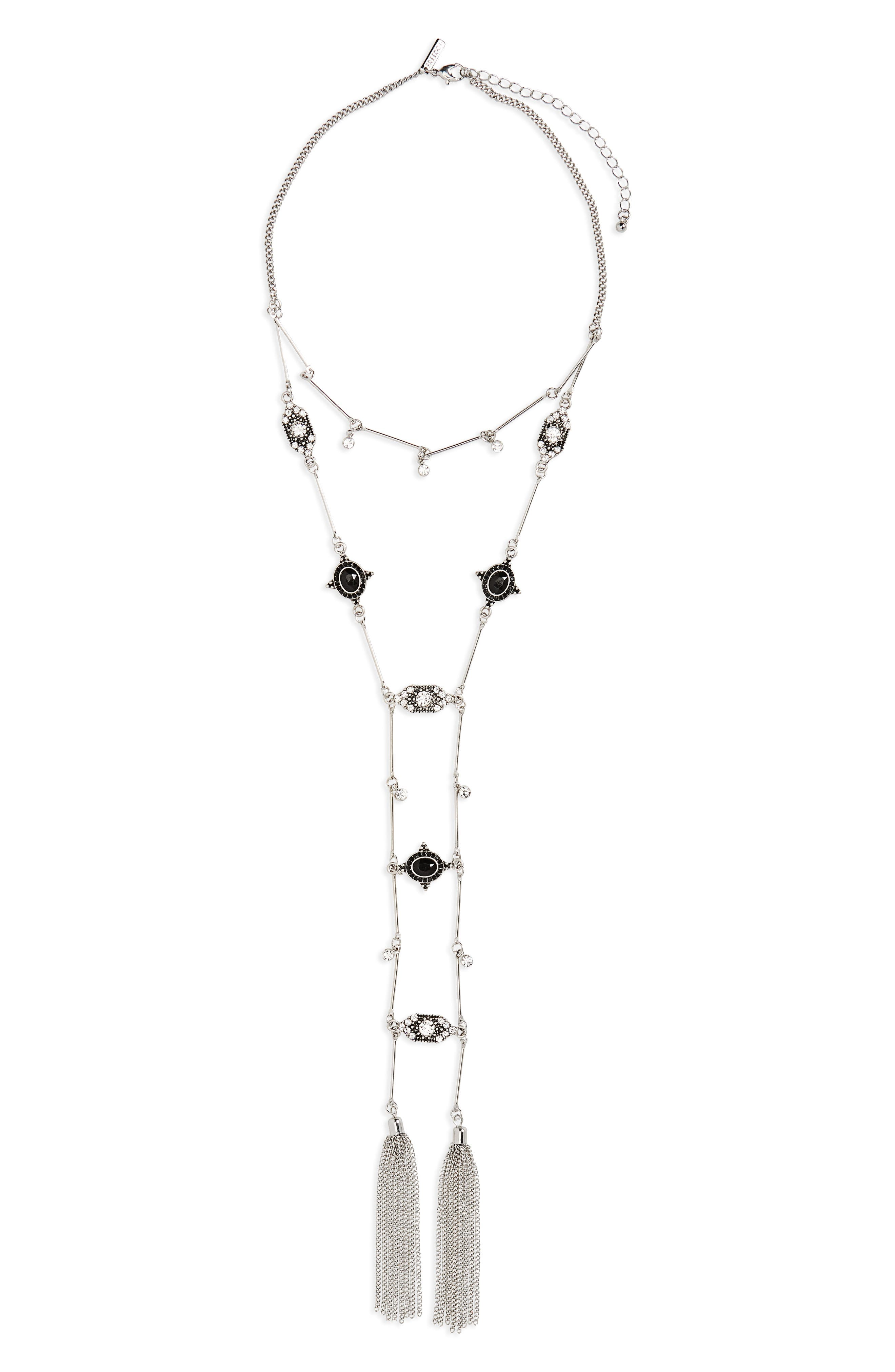 Main Image - Topshop Engraved Charm Layered Necklace