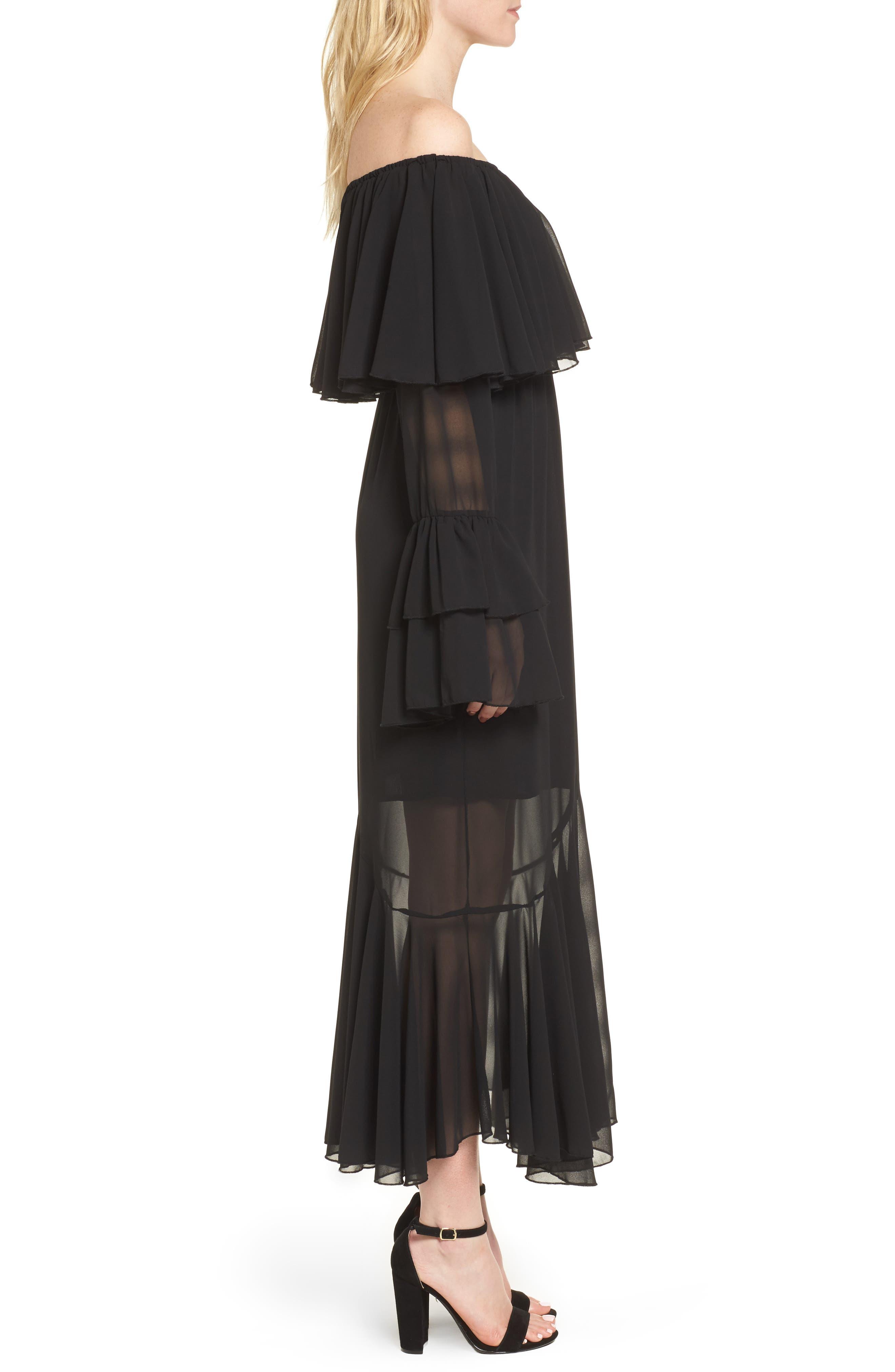 Day Dreamer Dress,                             Alternate thumbnail 3, color,                             Black