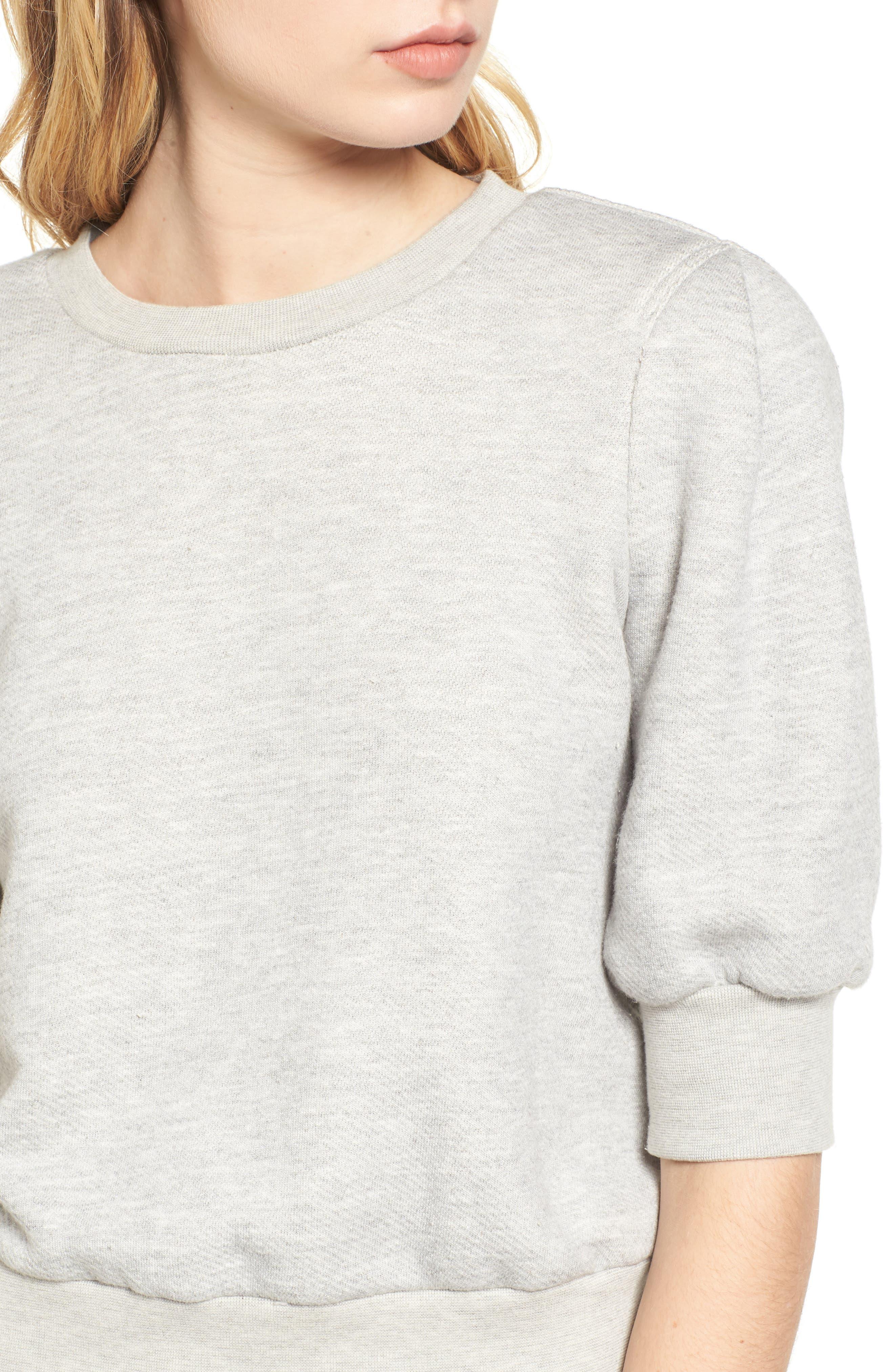The Pleat Sweatshirt,                             Alternate thumbnail 4, color,                             Light Heather Grey Terry
