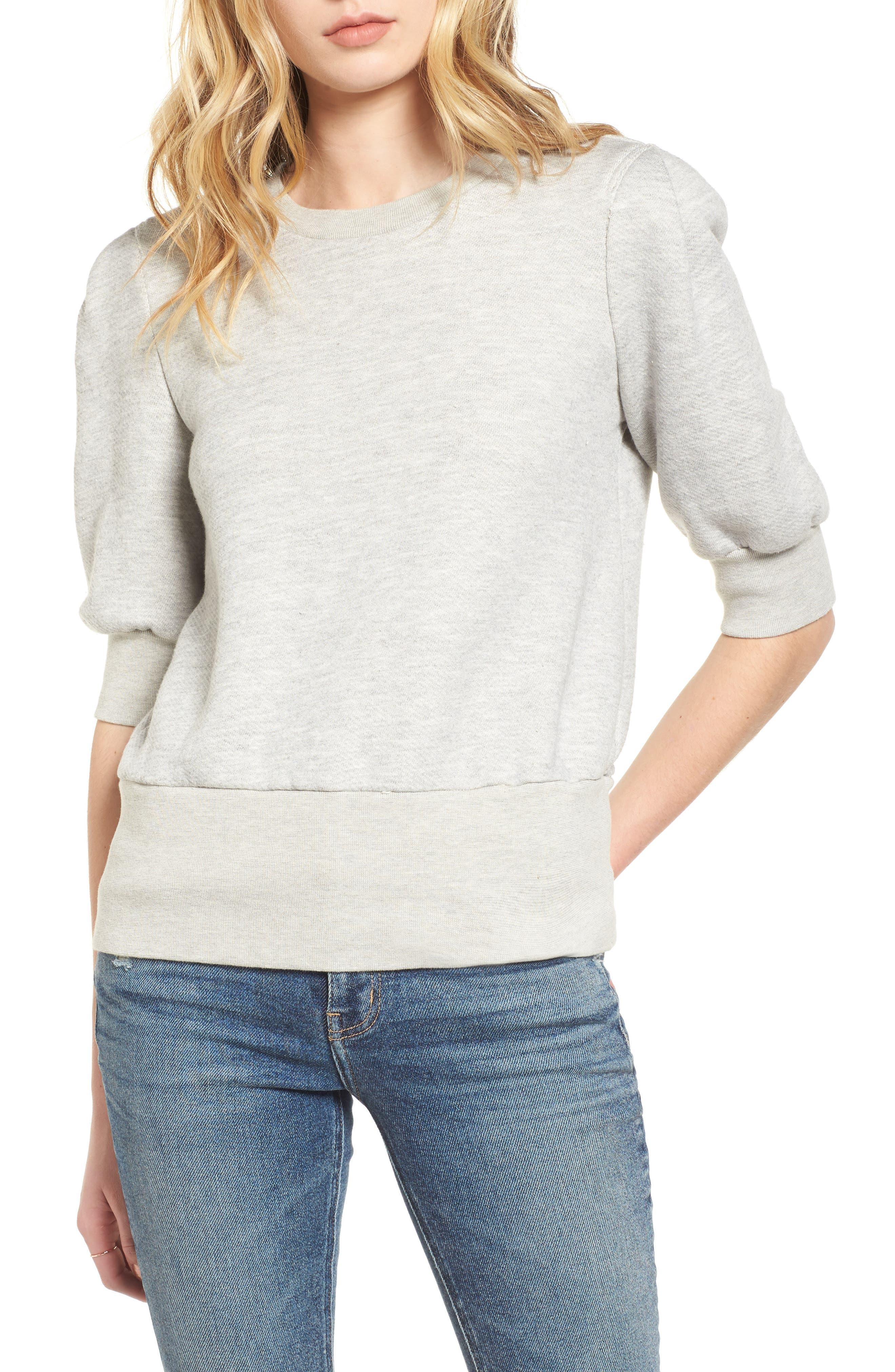 The Pleat Sweatshirt,                             Main thumbnail 1, color,                             Light Heather Grey Terry