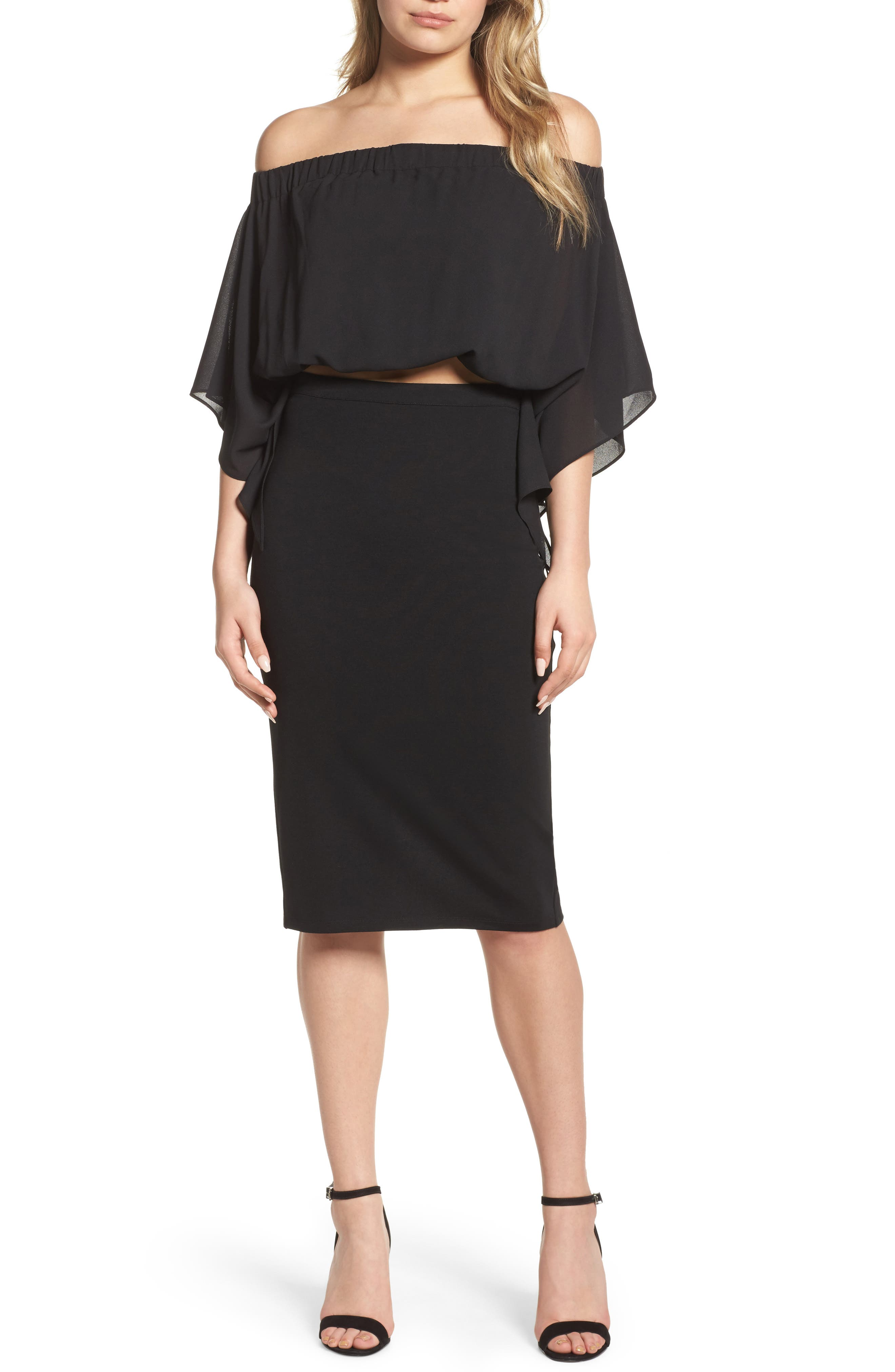Sweet Smell of Success Two-Piece Dress,                         Main,                         color, Black