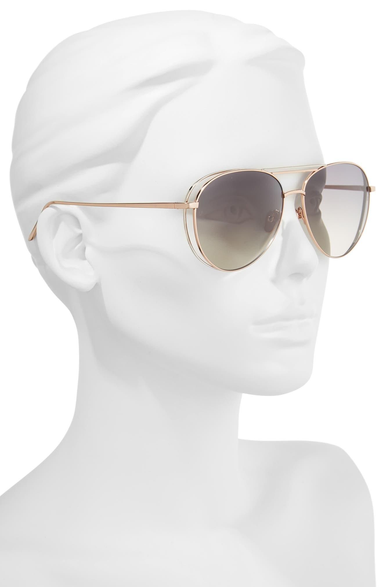 61mm 18 Karat Gold Aviator Sunglasses,                             Alternate thumbnail 2, color,                             Rose Gold White Gold/ Grey