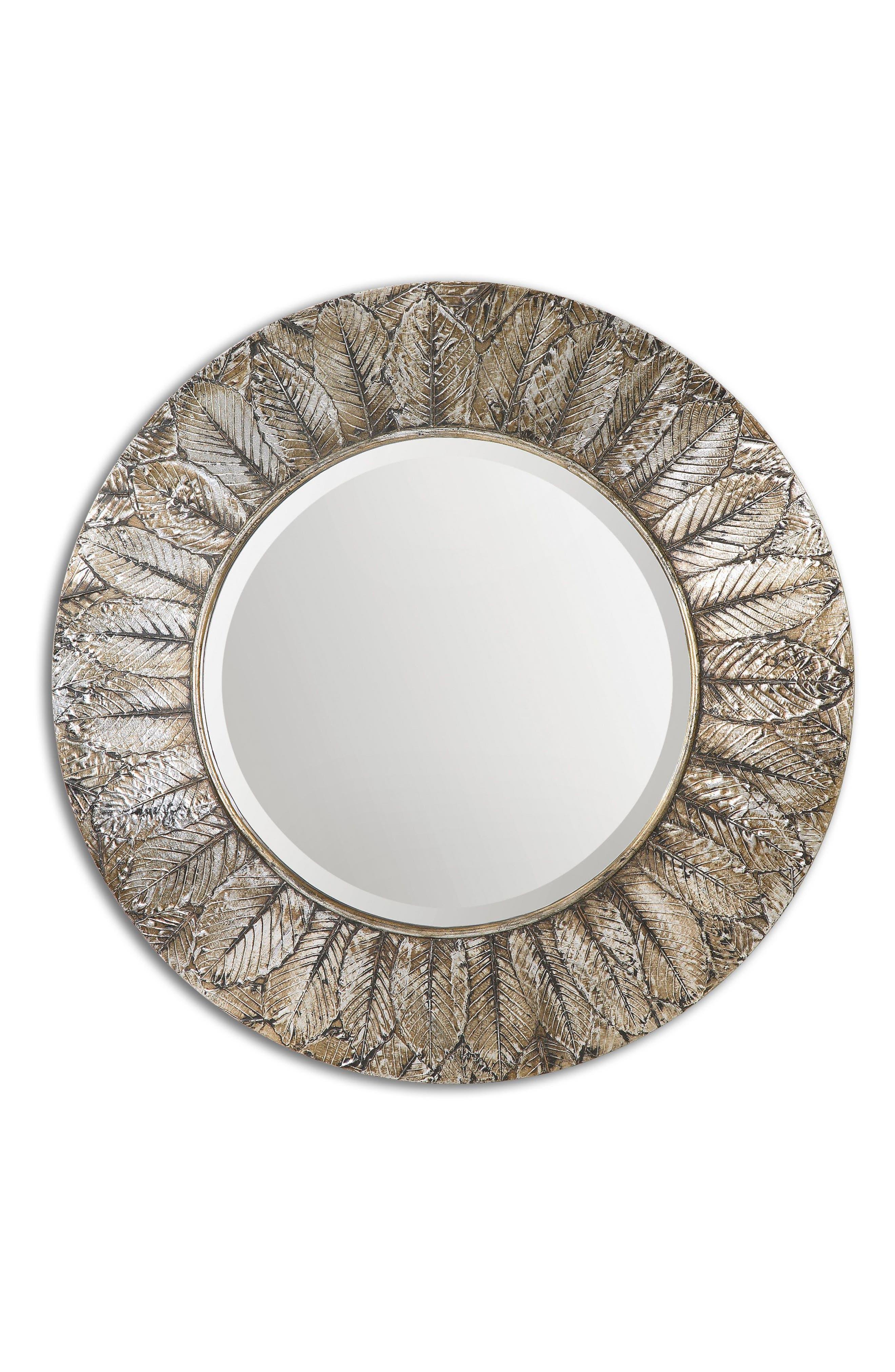 Foliage Wall Mirror,                         Main,                         color, Grey