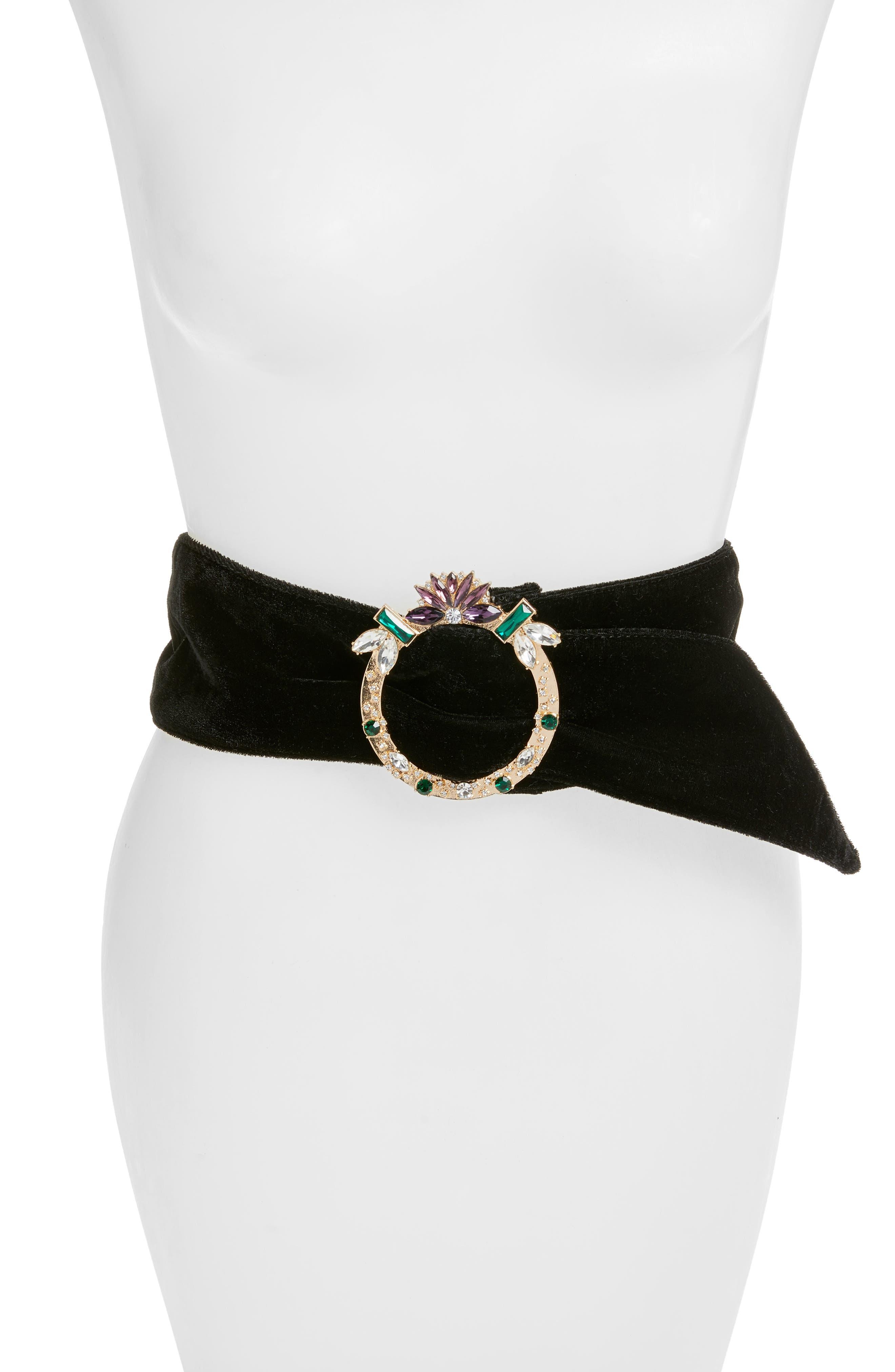 Jewel Buckle Belt,                         Main,                         color, Black Multi