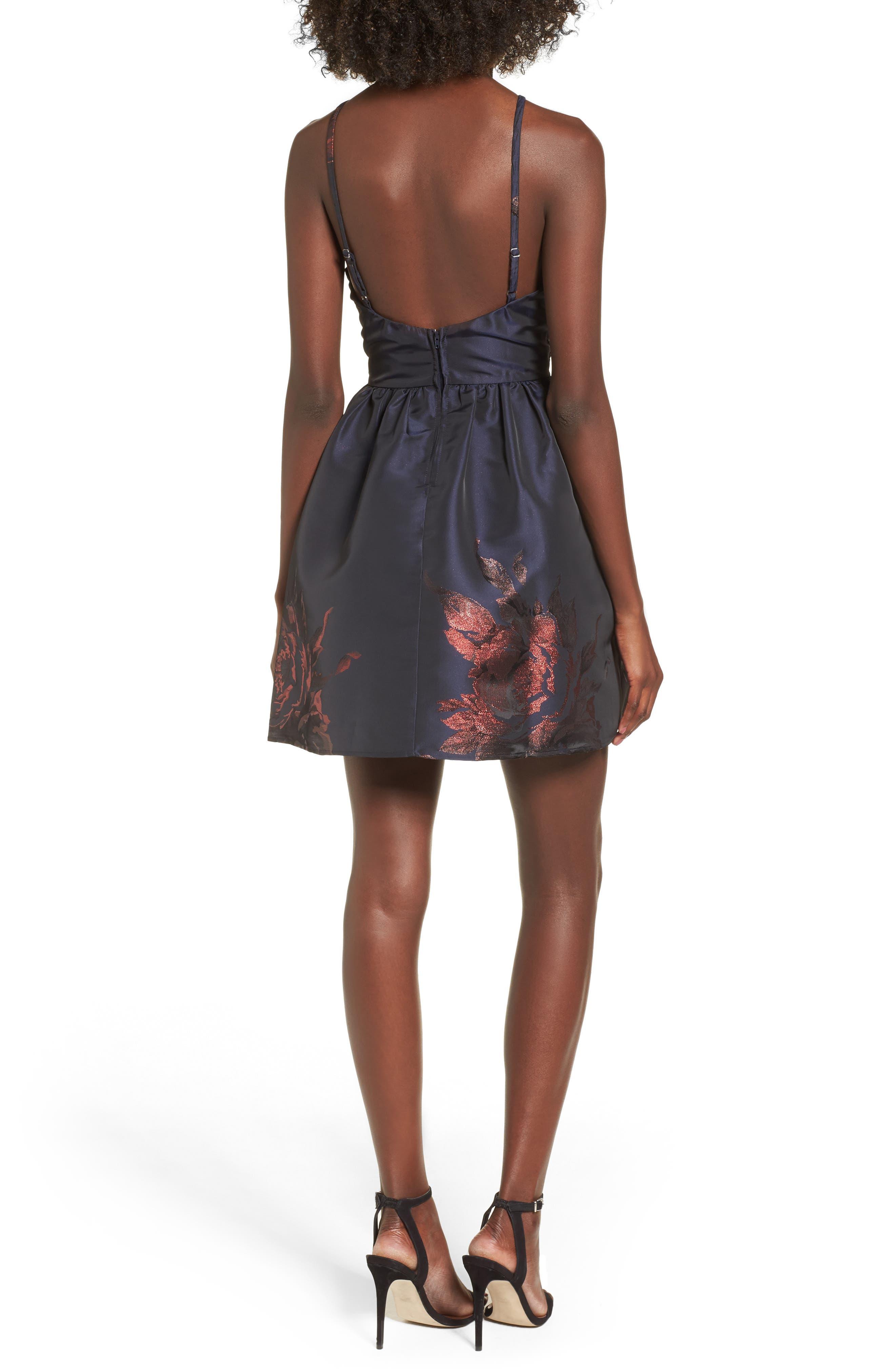 Metallic Floral Fit & Flare Dress,                             Alternate thumbnail 2, color,                             Navy/ Burgundy