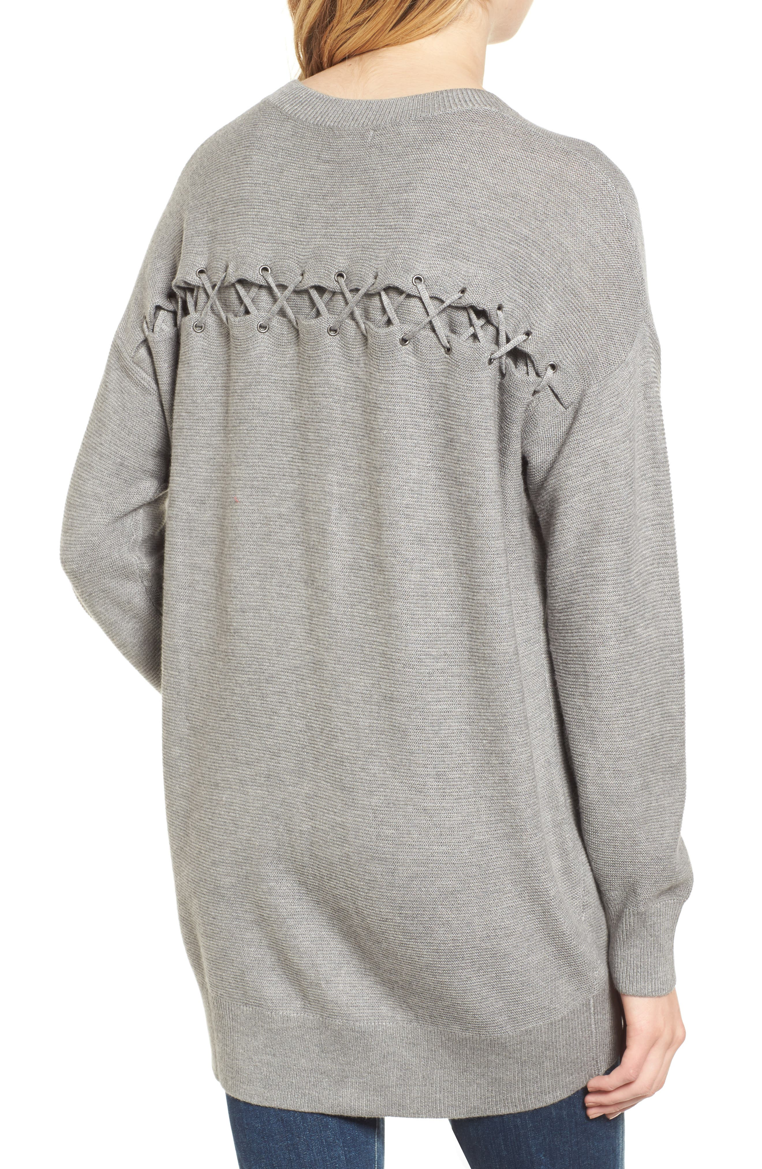 Laced Back Sweater,                             Alternate thumbnail 2, color,                             Slate