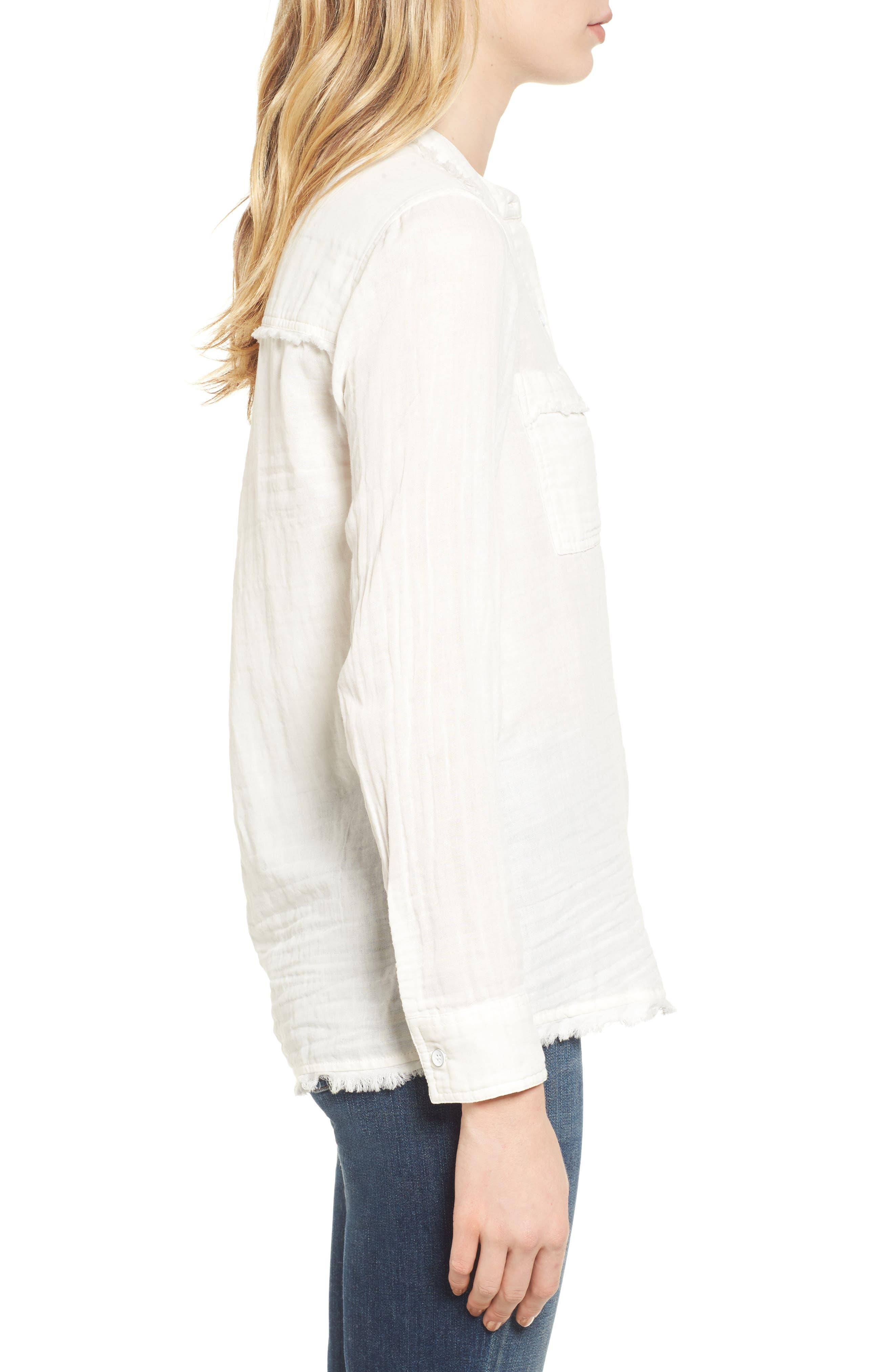 Button Front Shirt,                             Alternate thumbnail 3, color,                             Off White