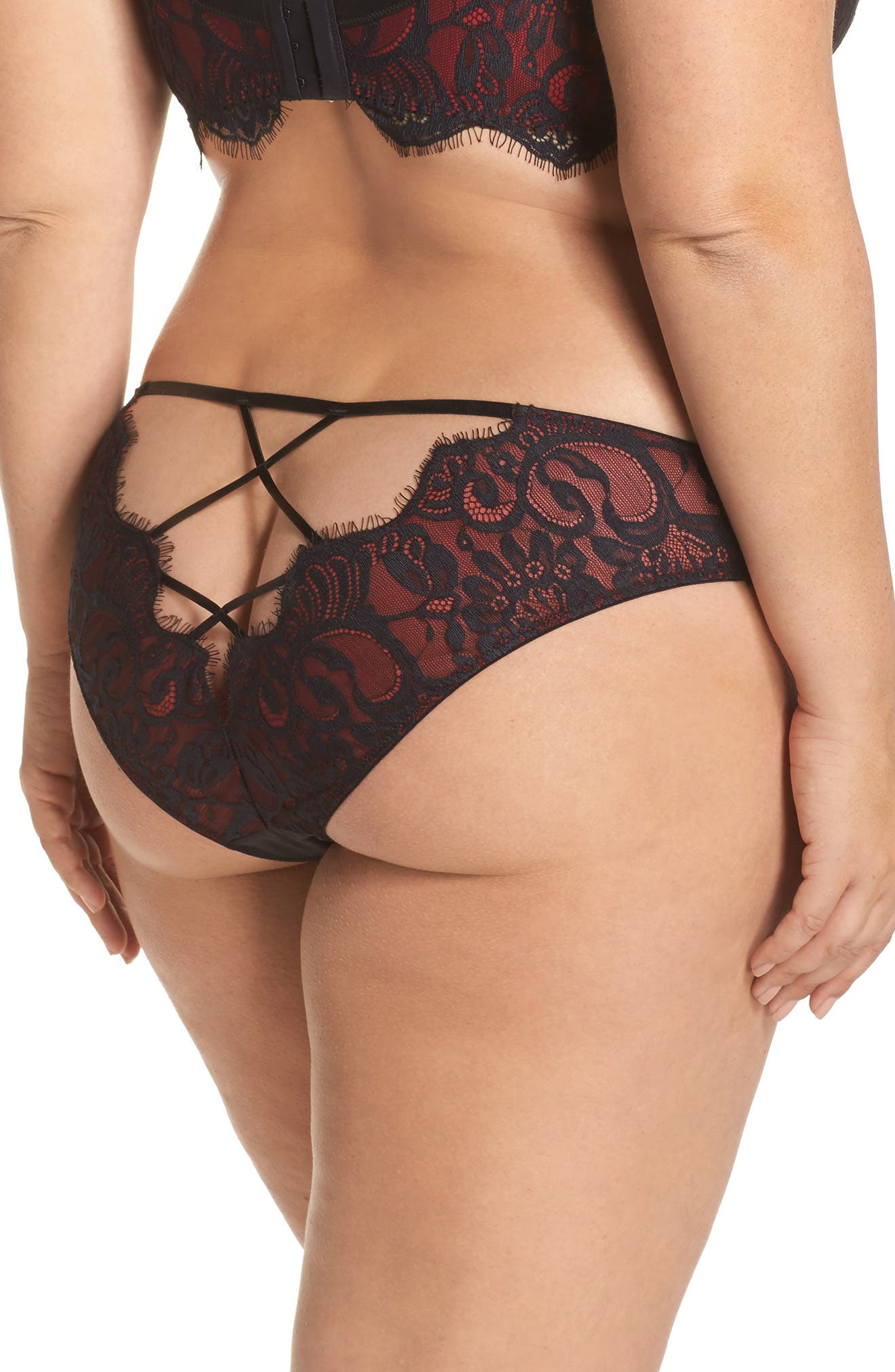 Bailey Curve Embroidered Bikini,                             Alternate thumbnail 2, color,                             Red