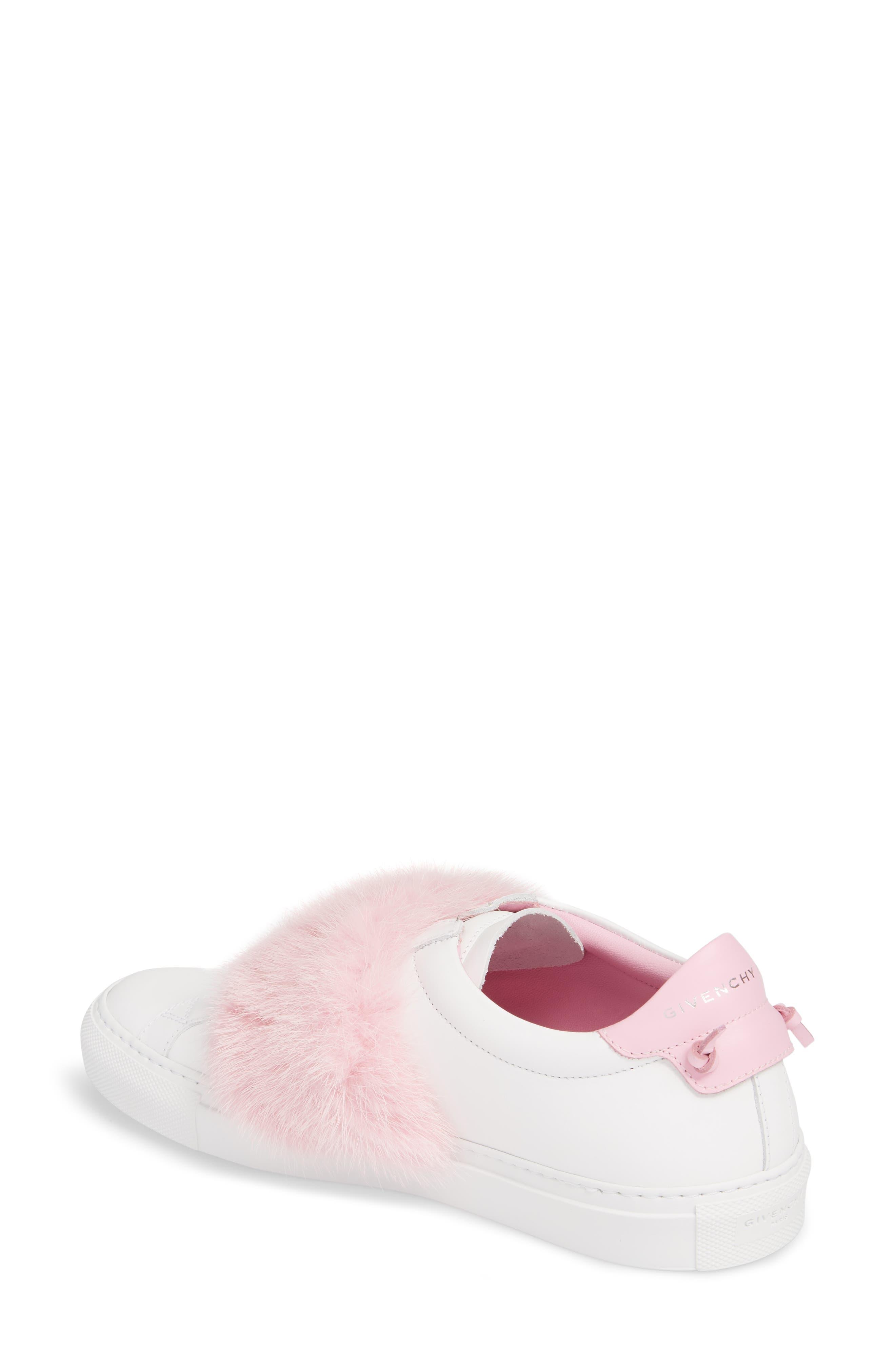 Urban Street Slip-On Sneaker with Genuine Mink Fur Trim,                             Alternate thumbnail 2, color,                             White/ Pink