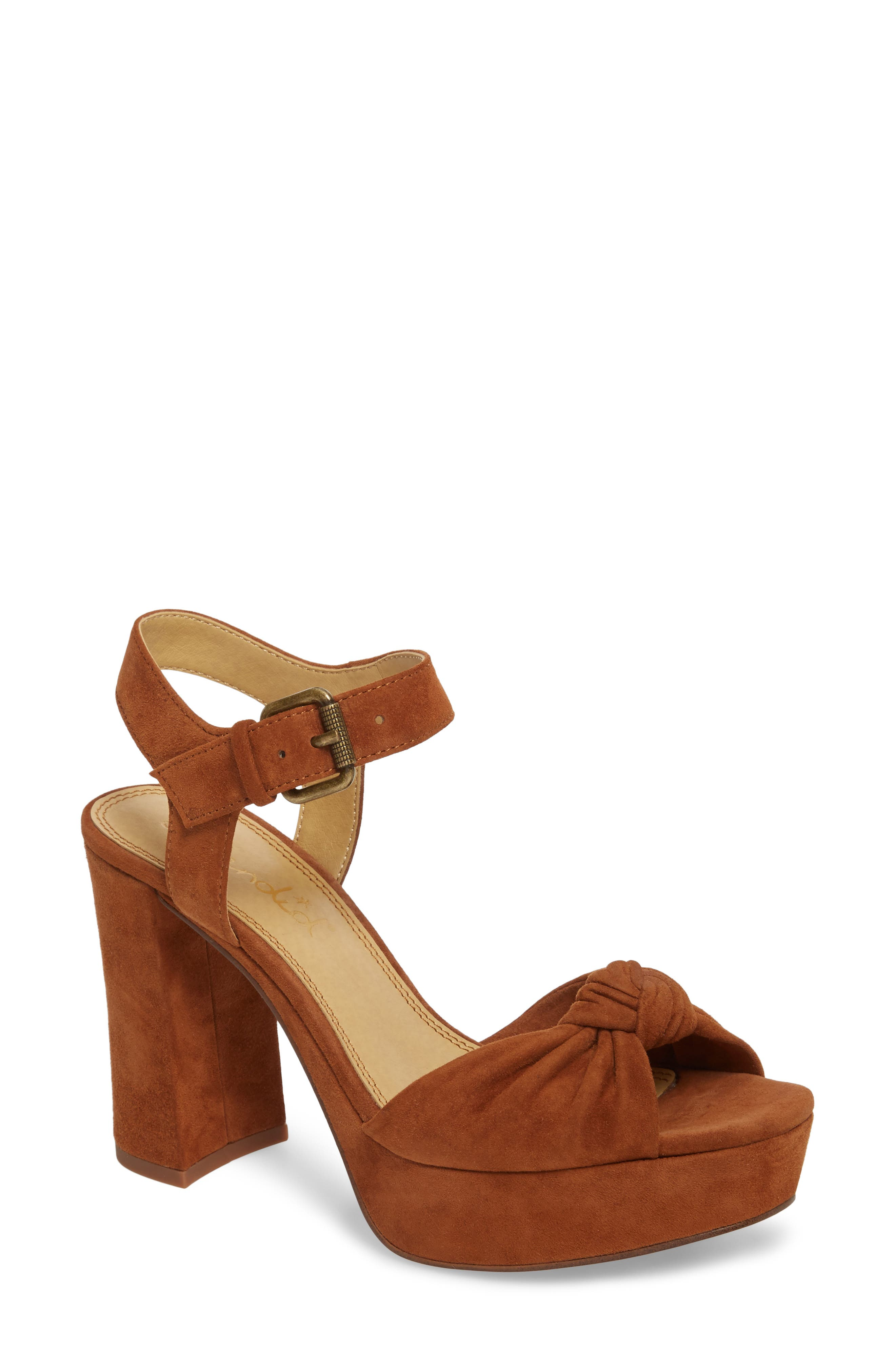 Bates Platform Sandal,                             Main thumbnail 1, color,                             Caramel Suede