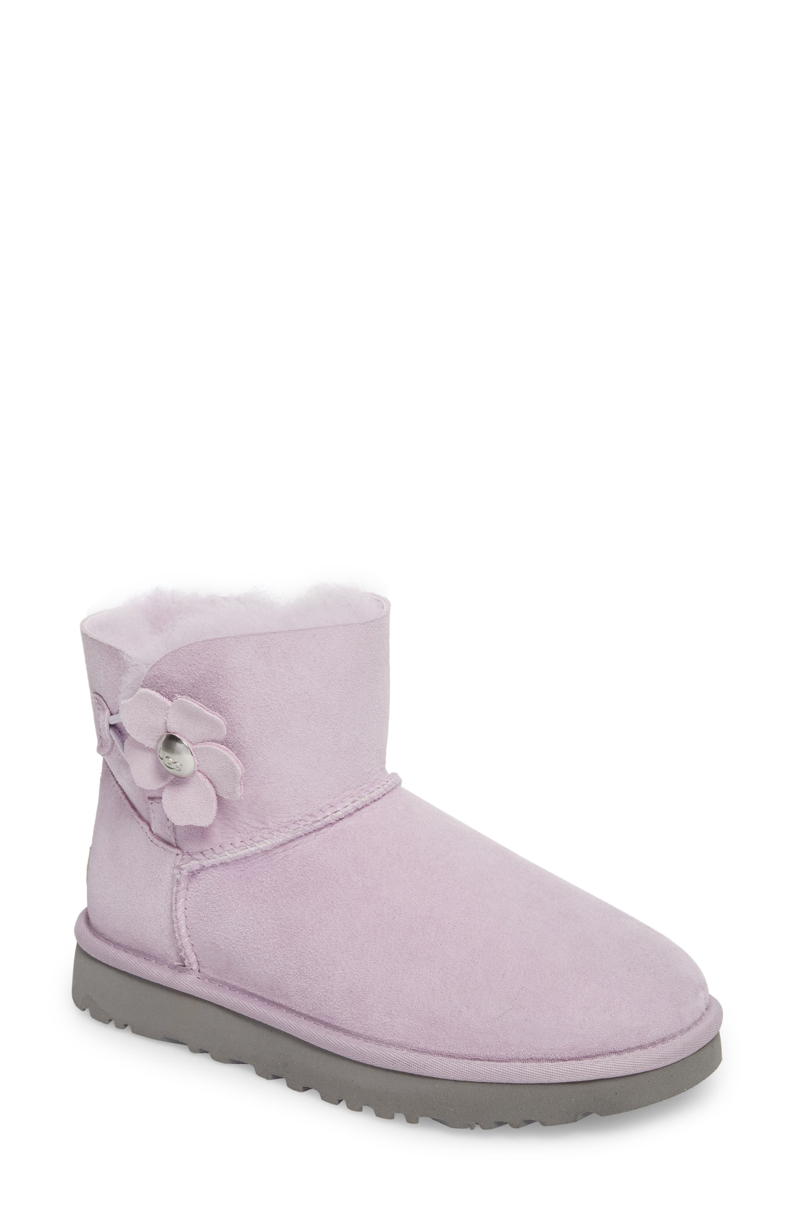 Mini Bailey Button Poppy Genuine Shearling Lined Boot,                         Main,                         color, Lavender Fog