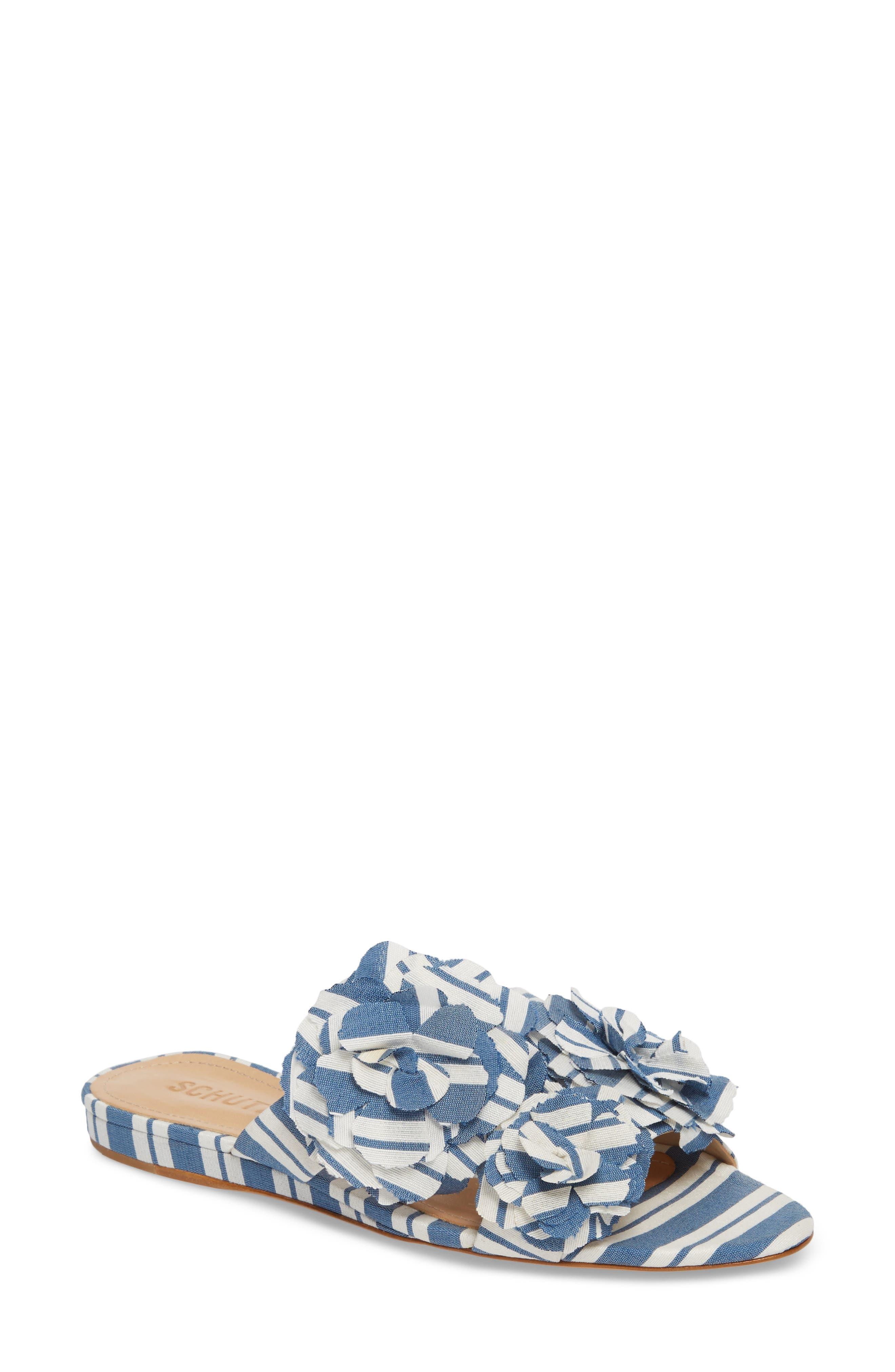 Ilaria Flower Sandal,                             Main thumbnail 1, color,                             Dress Blue