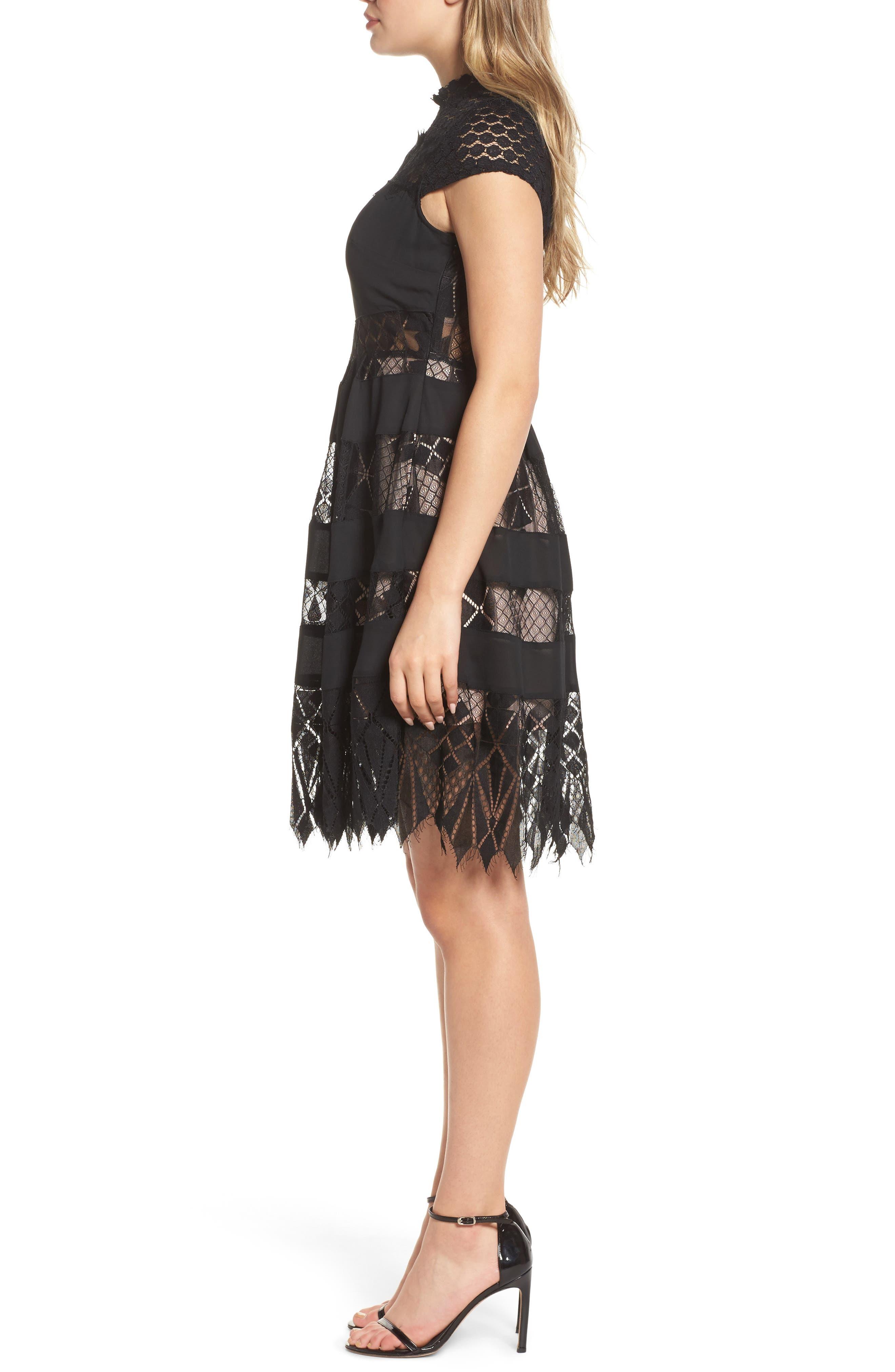 Alternate Image 3  - Foxiedox Bravo Zulu Lacy Paneled Fit & Flare Dress