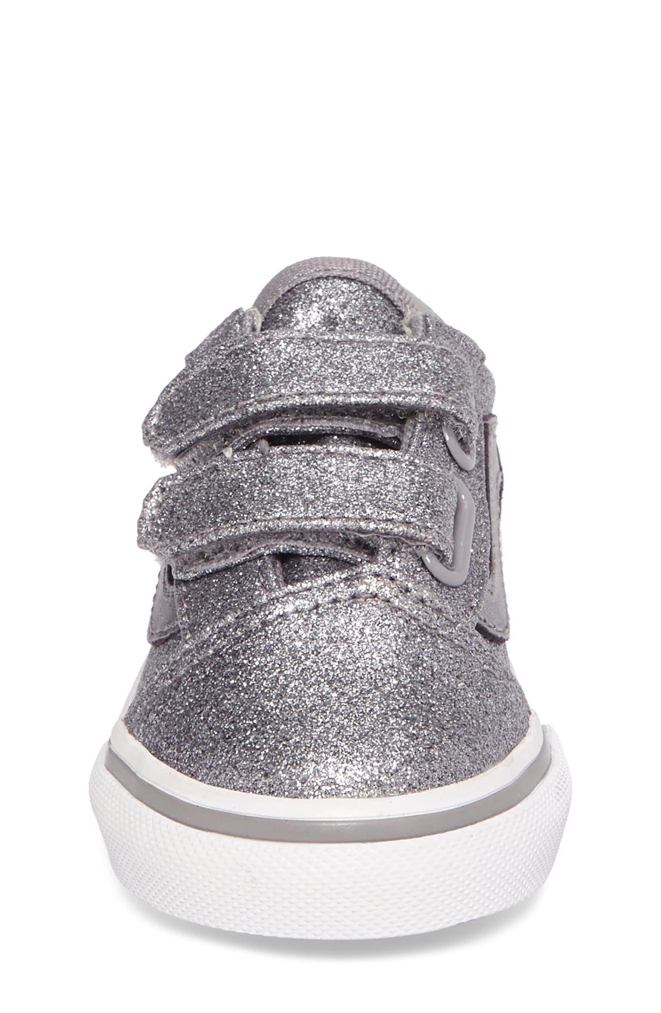 Old Skool V Glitter Sneaker,                             Alternate thumbnail 4, color,                             Glitter  Metallic Frost Gray
