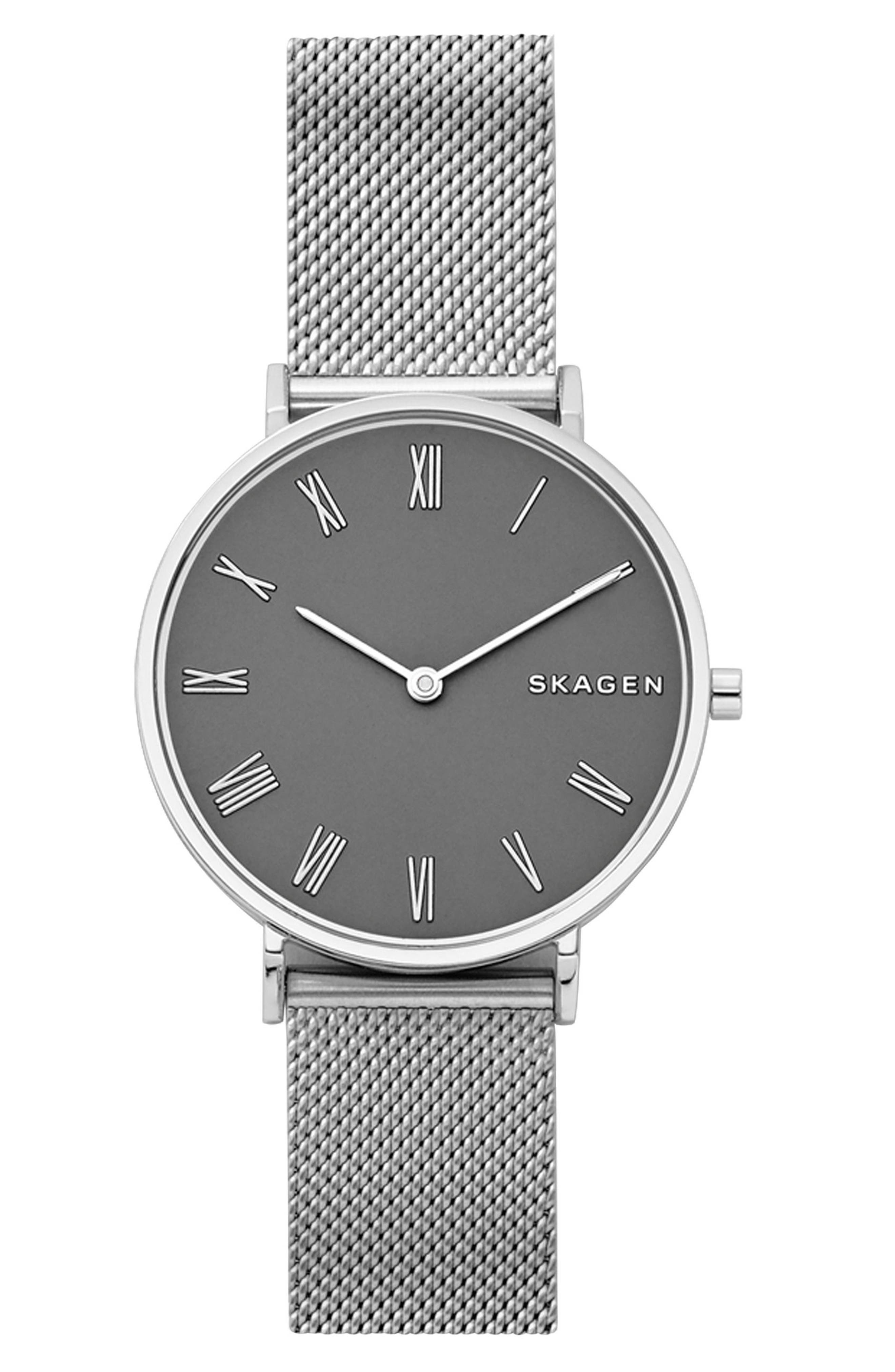 Slim Hald Mesh Strap Watch, 34mm,                             Main thumbnail 1, color,                             Silver/ Grey/ Silver
