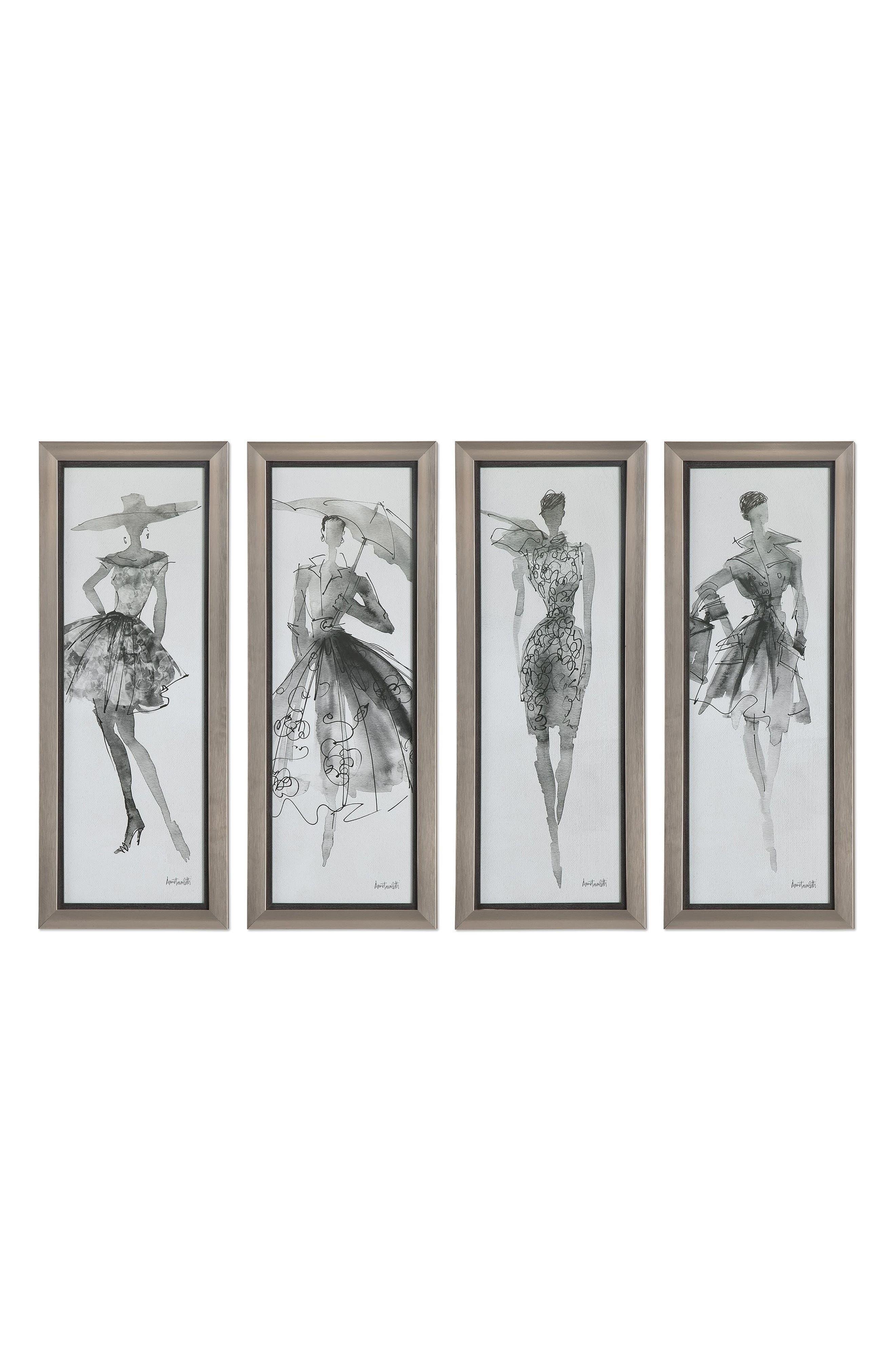 Fashion Sketchbook 4-Piece Wall Art Set,                         Main,                         color, Grey
