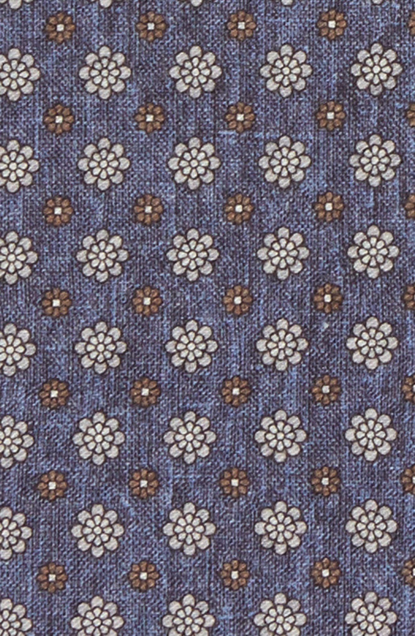 Medallion Wool & Cotton Pocket Square,                             Alternate thumbnail 3, color,                             Navy