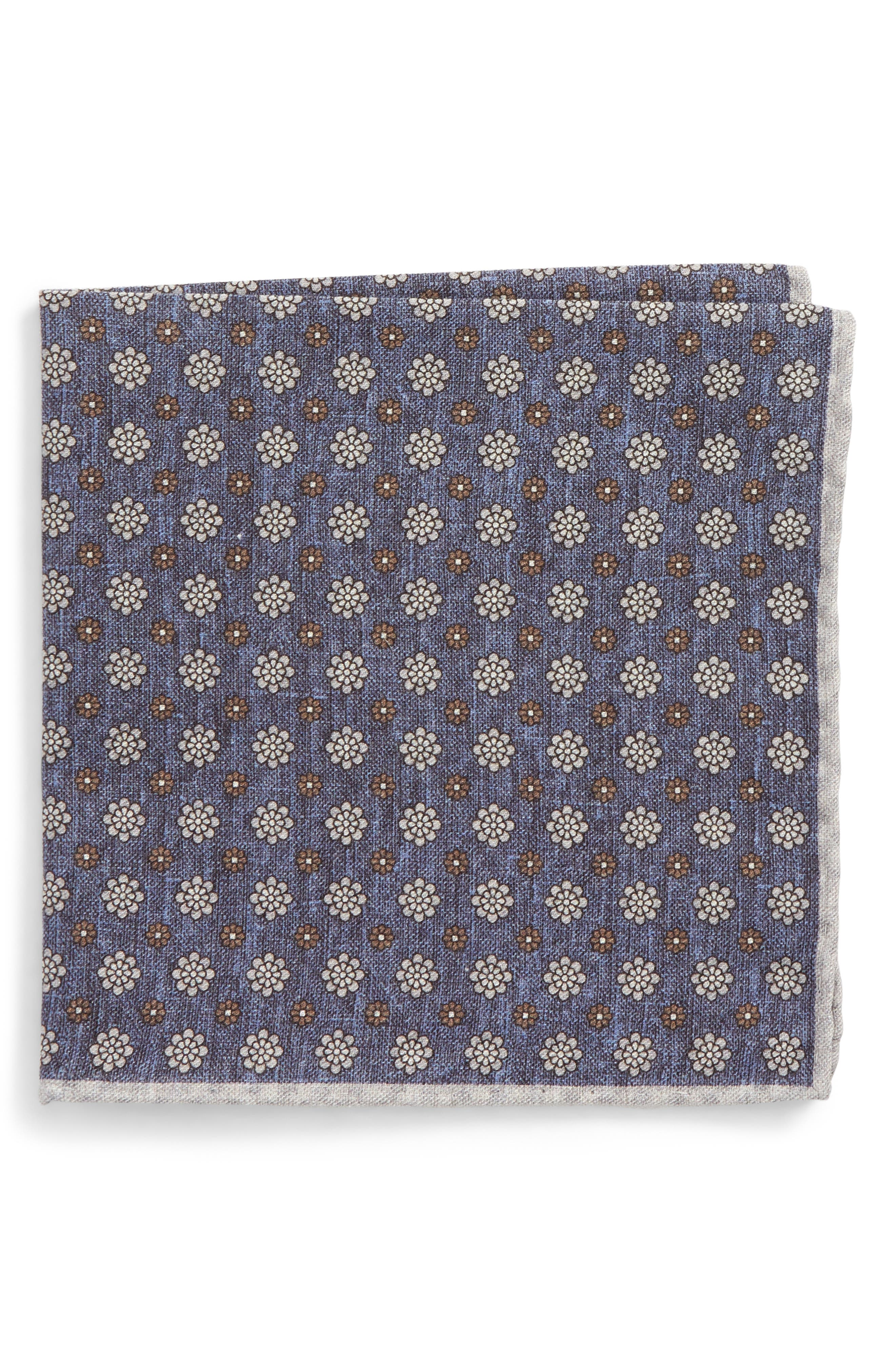 Medallion Wool & Cotton Pocket Square,                         Main,                         color, Navy