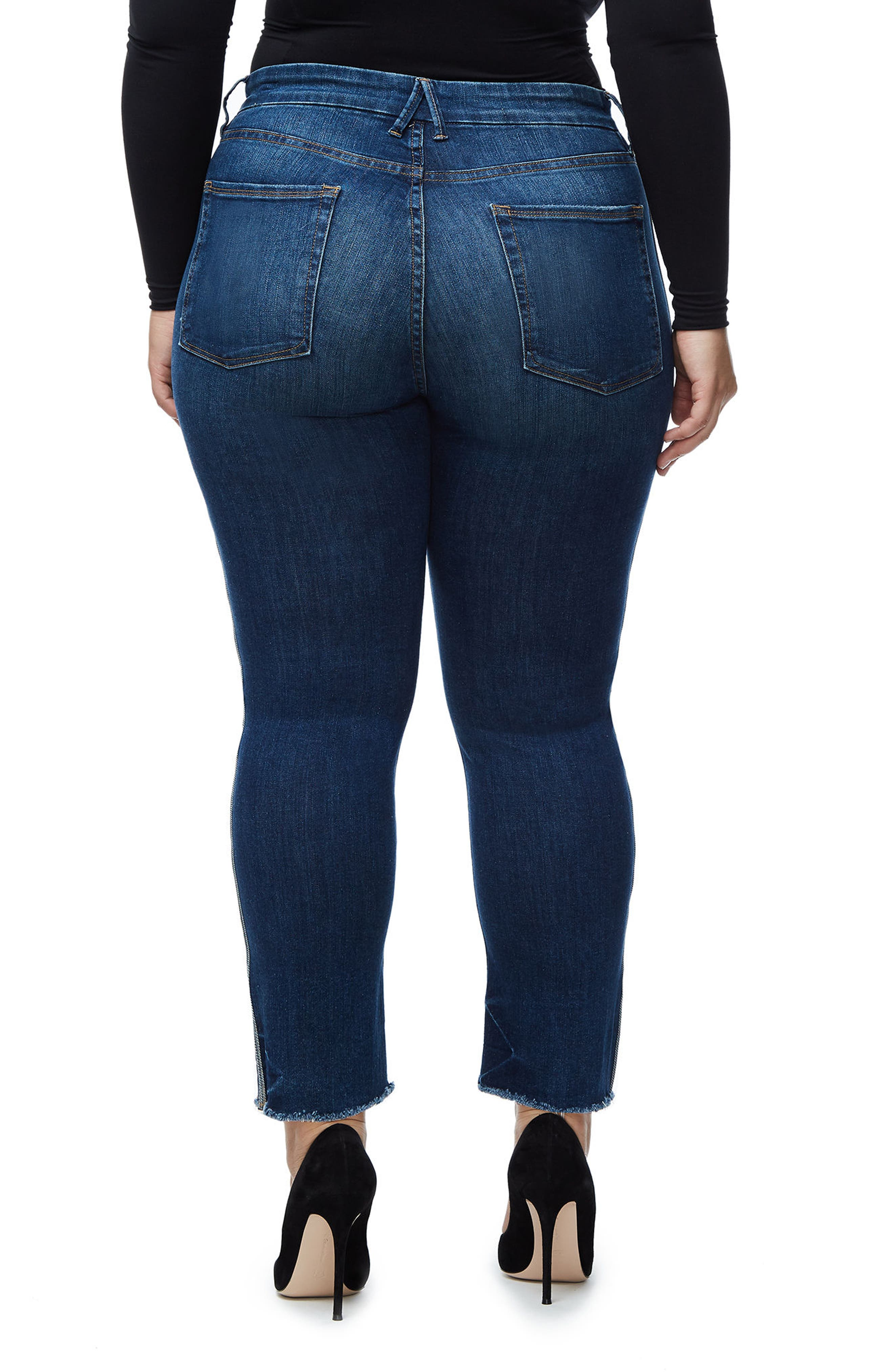 Good Straight Athletic Stripe High Waist Straight Leg Jeans,                             Alternate thumbnail 5, color,                             Blue122