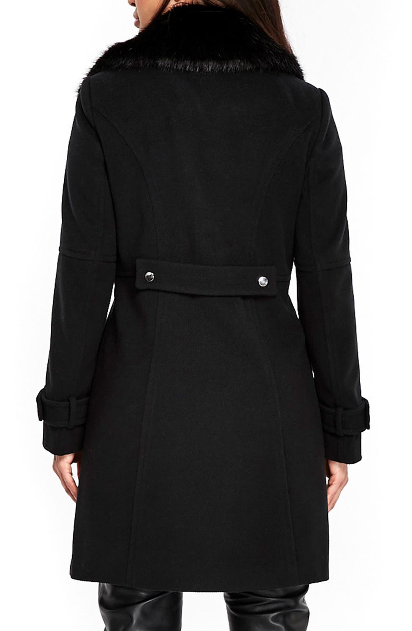 Twill Biker Jacket with Faux Fur Collar,                             Alternate thumbnail 2, color,                             Black