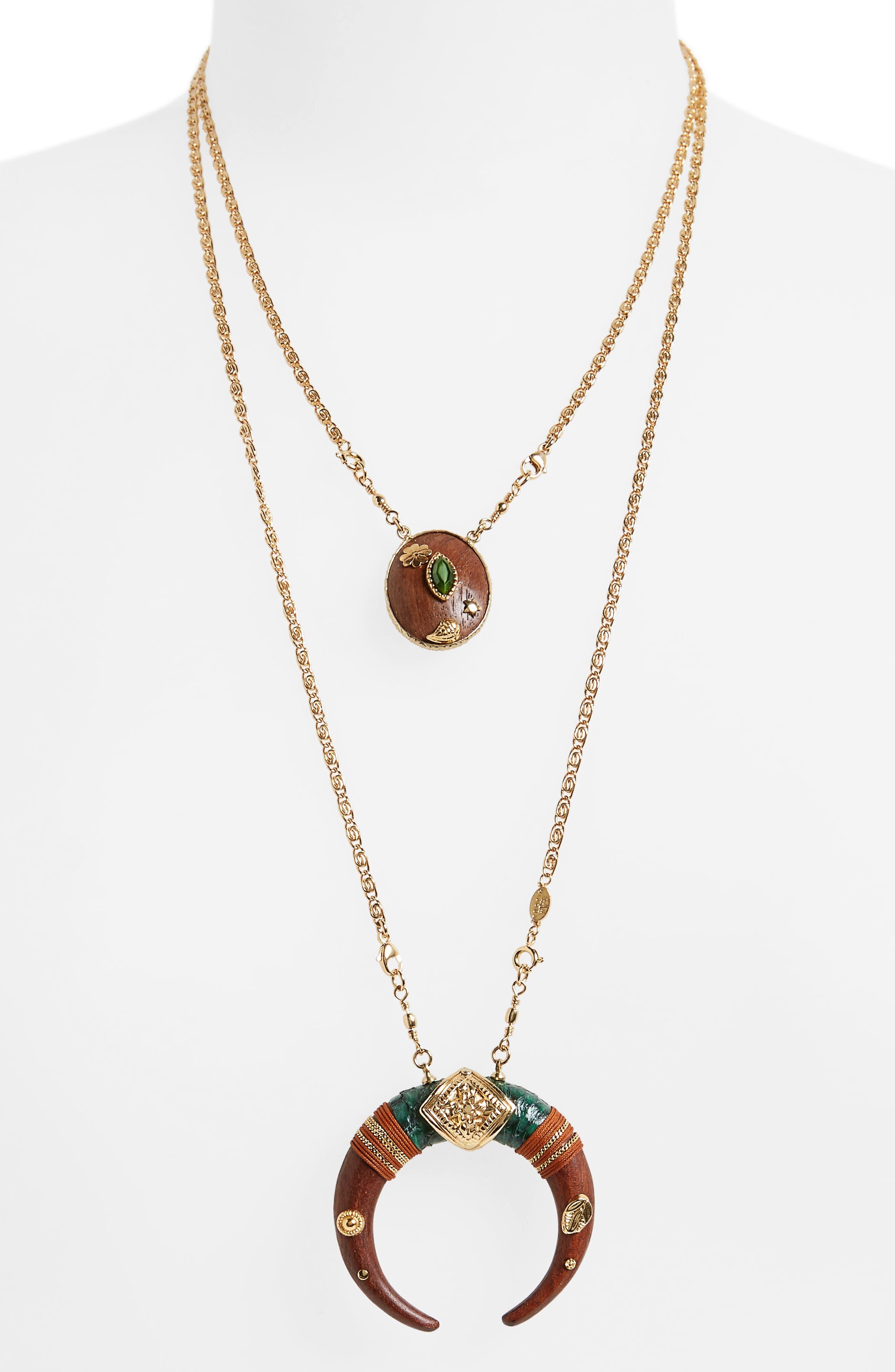 Scapulaire Juan Convertible Pendant Necklace,                             Main thumbnail 1, color,                             Brown/ Gold