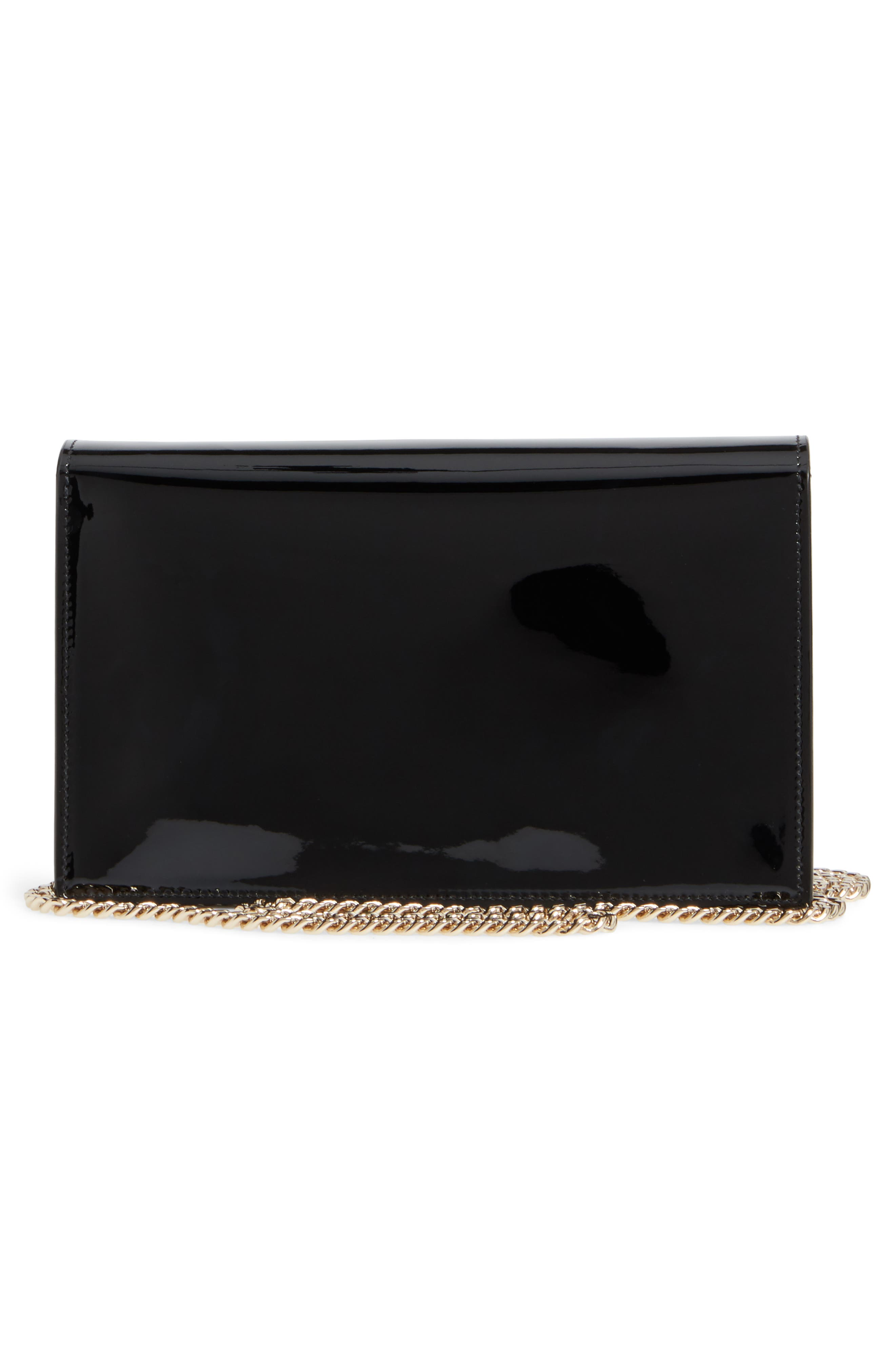 Florence Patent Leather & Suede Clutch,                             Alternate thumbnail 3, color,                             Black