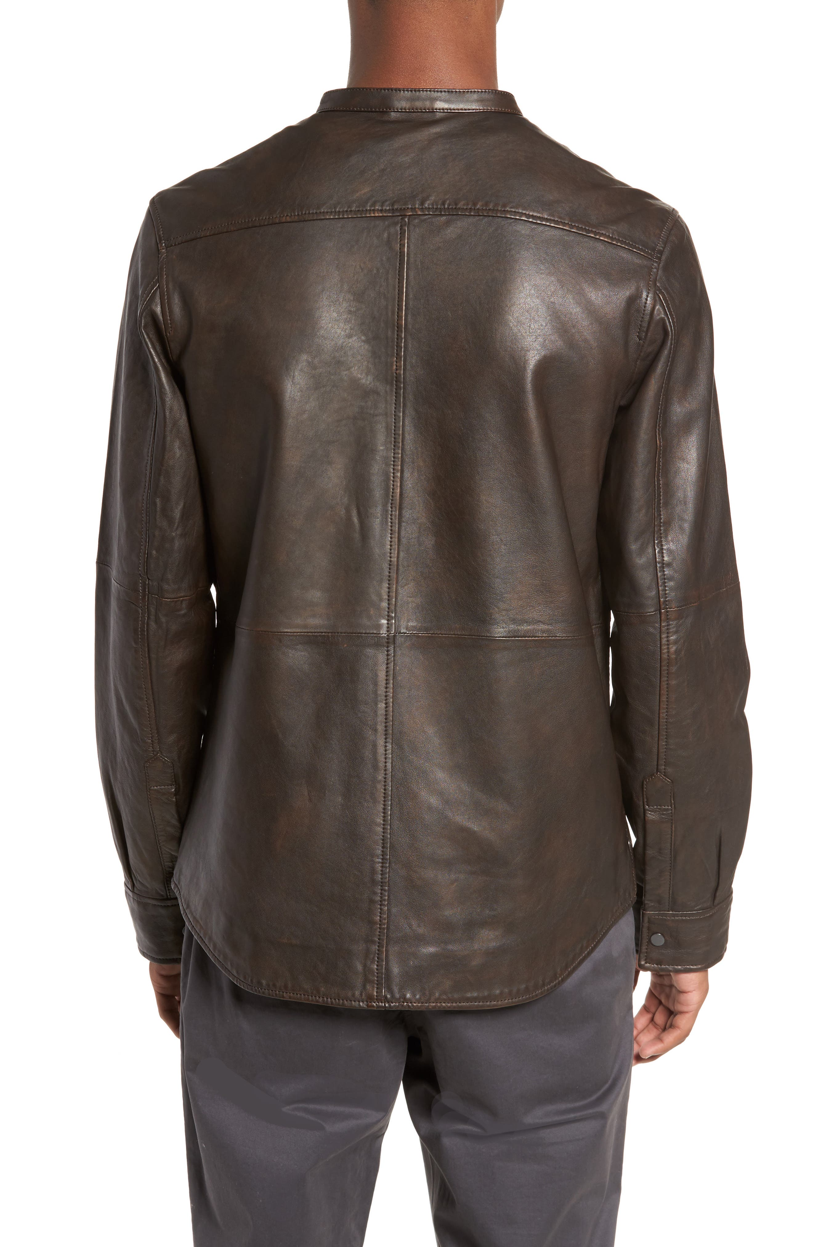 Atwater Leather Shirt Jacket,                             Alternate thumbnail 2, color,                             Brown Chicory