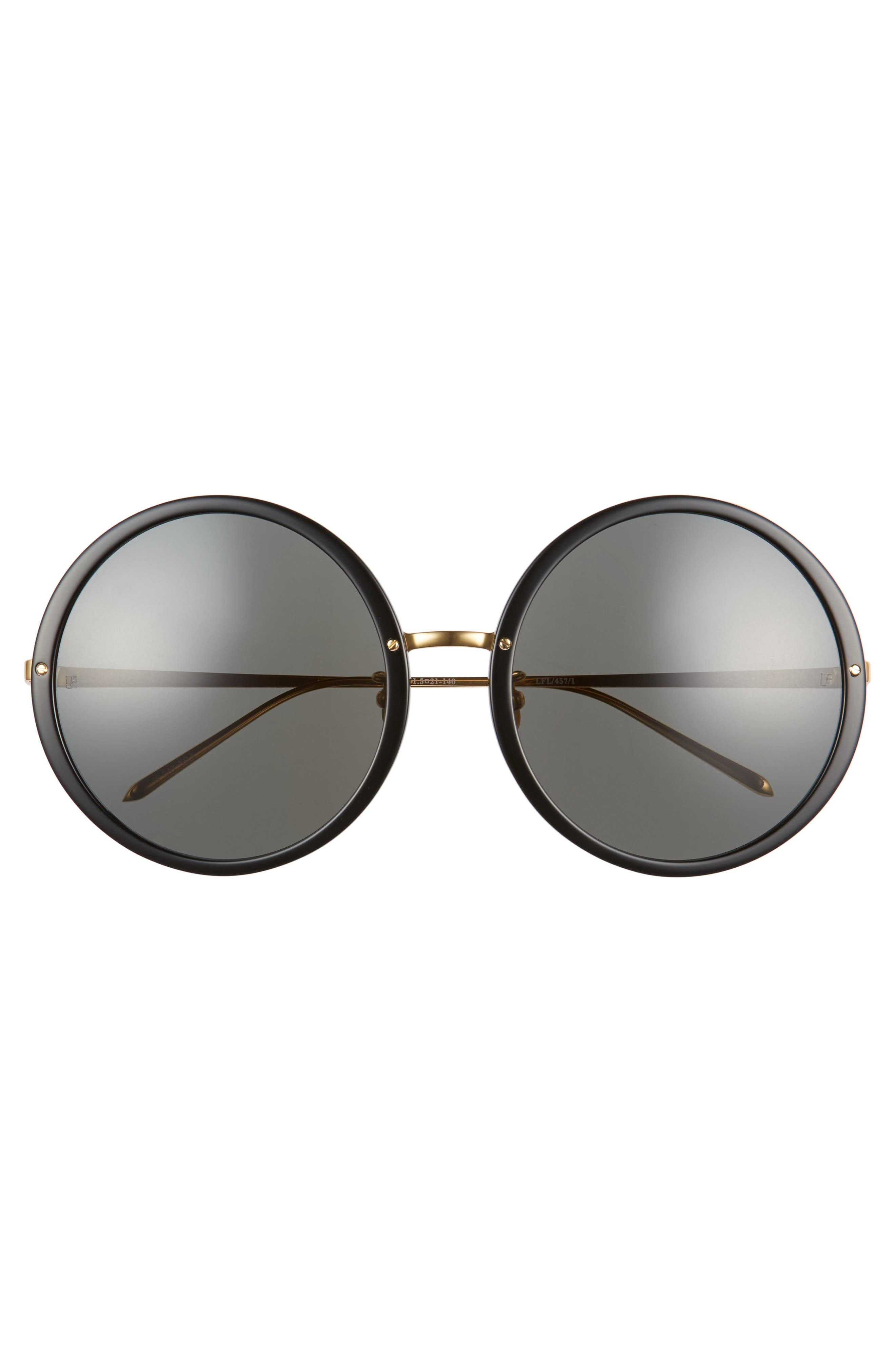 61mm Round 18 Karat Gold Trim Sunglasses,                             Alternate thumbnail 3, color,                             Black/ Yellow Gold/ Grey
