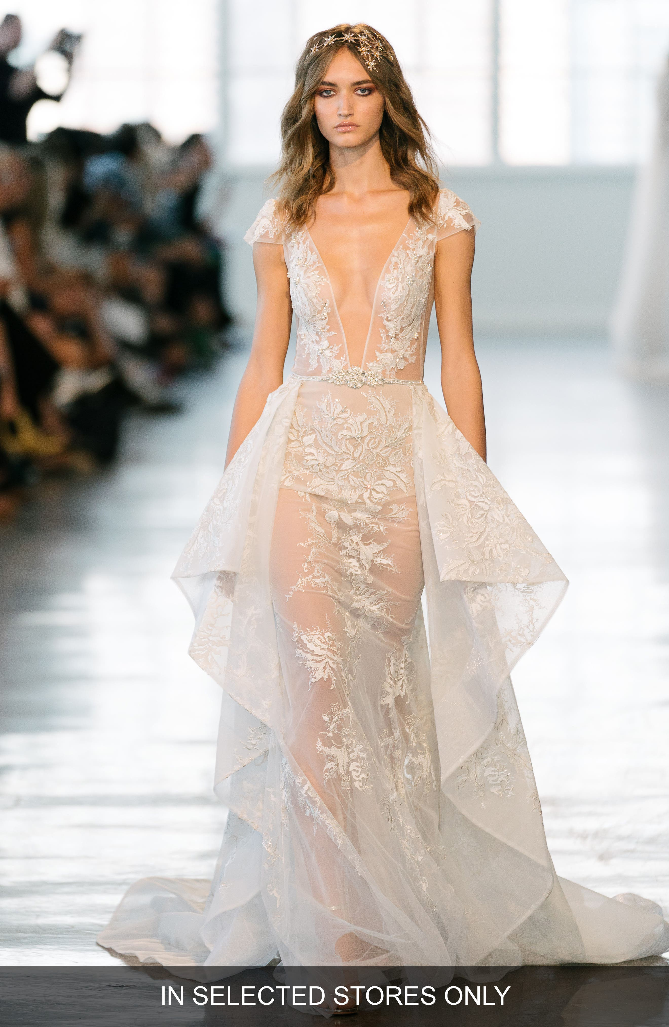Embellished Illusion Gown,                         Main,                         color, Ivory