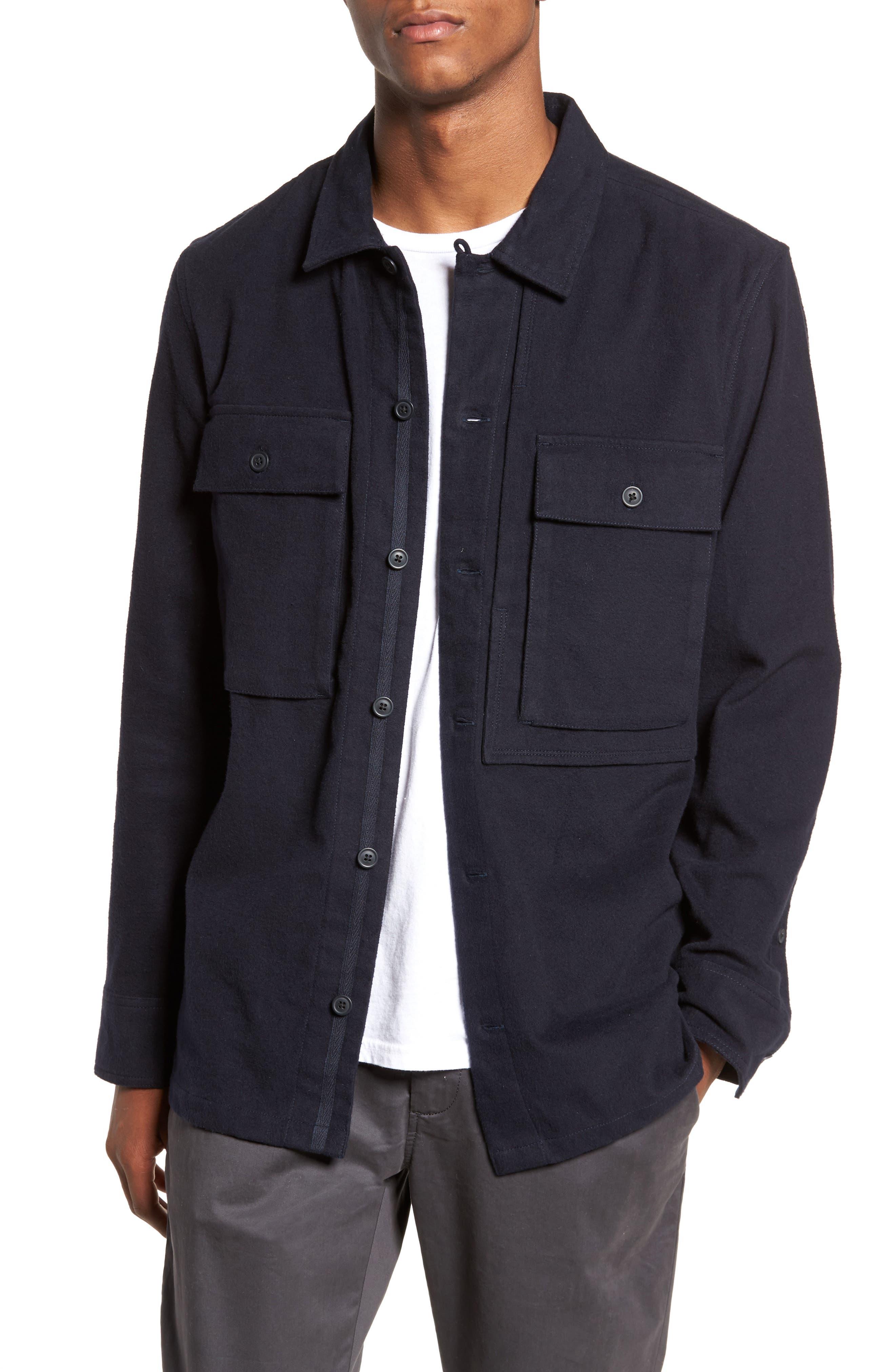 Flannel Shirt Jacket,                         Main,                         color, Navy Iris