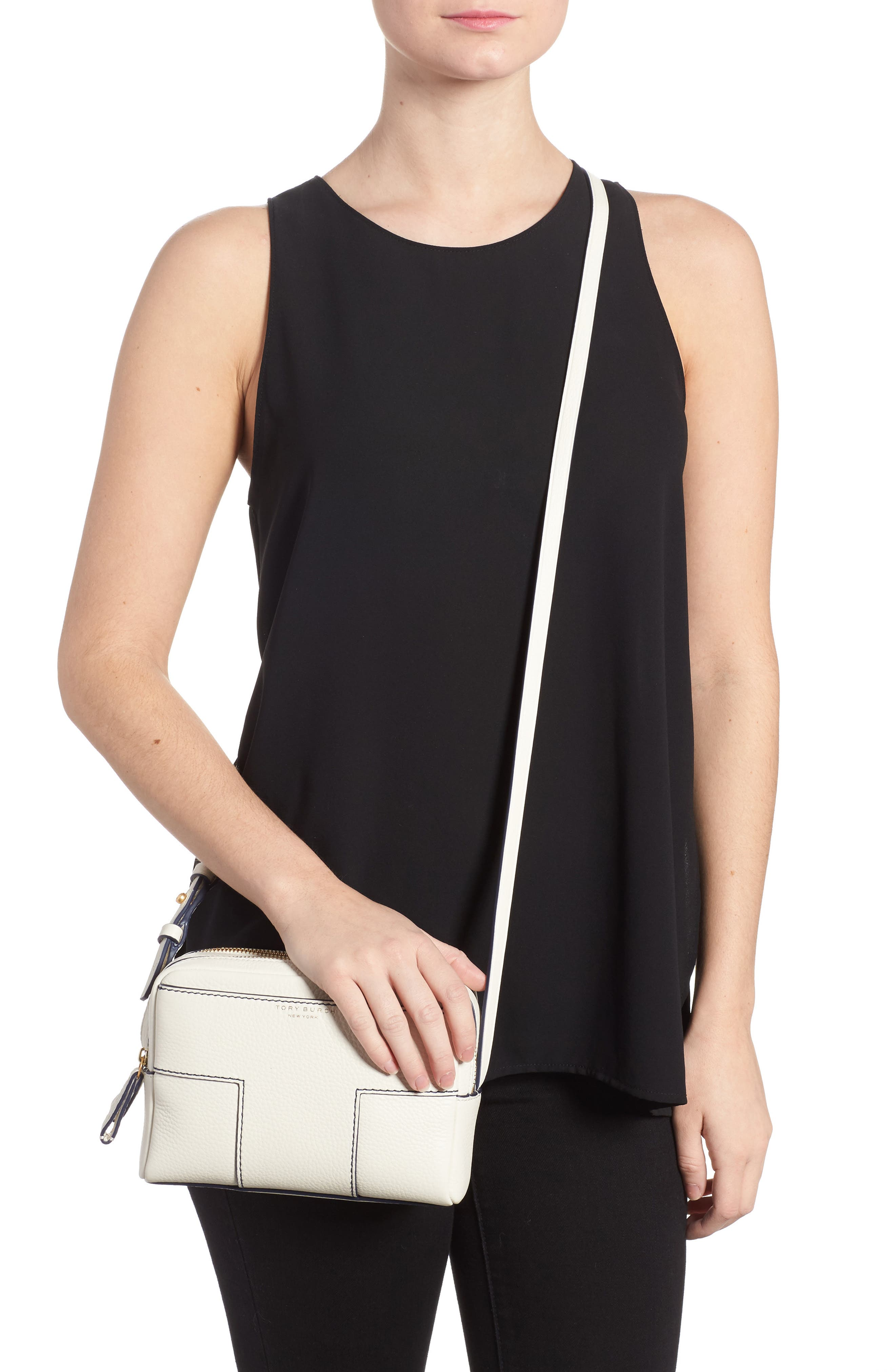 Block-T Double Zip Leather Crossbody Bag,                             Alternate thumbnail 2, color,                             New Ivory