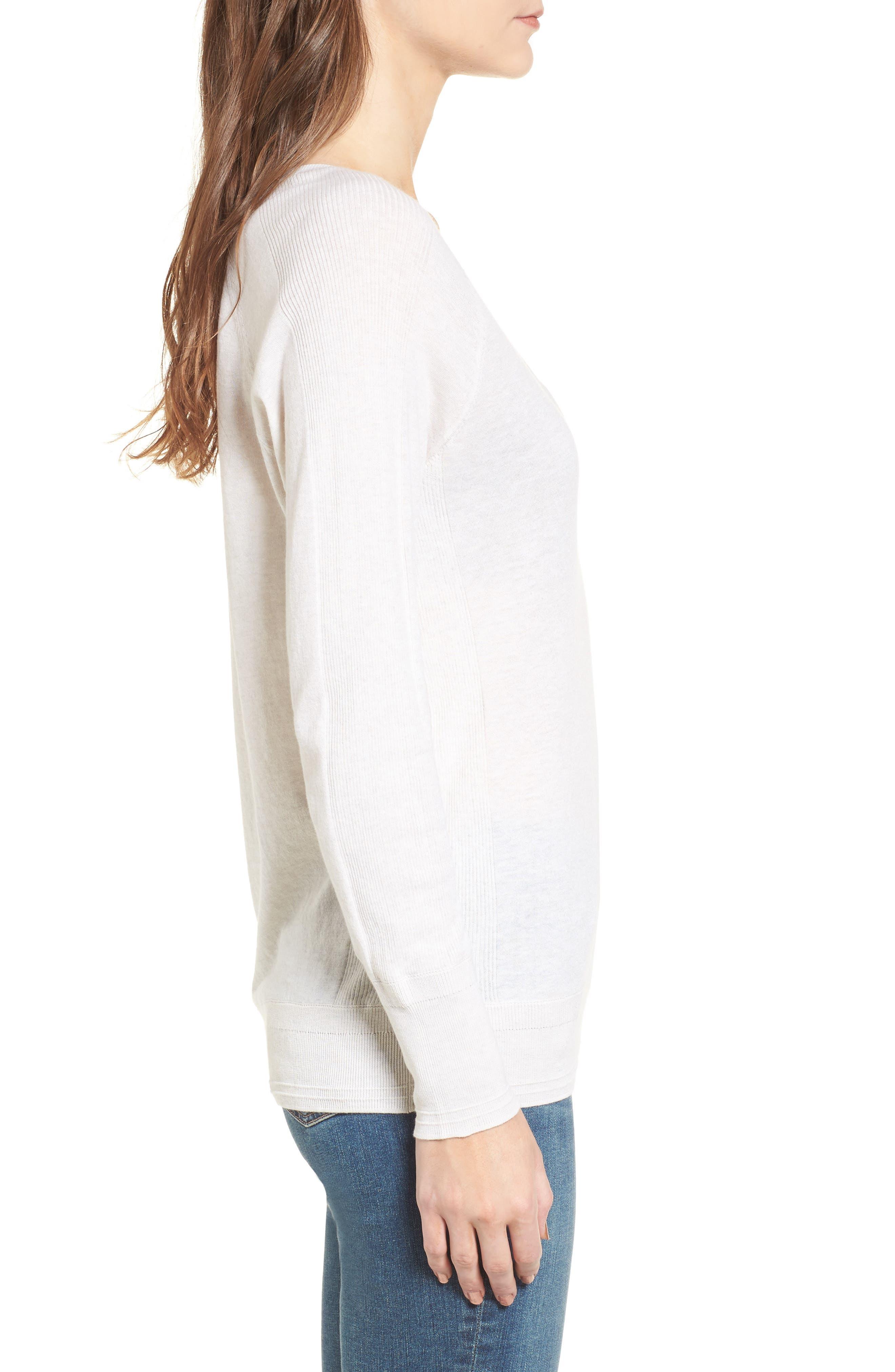 Deep V-Neck Sweater,                             Alternate thumbnail 3, color,                             Heather Cream