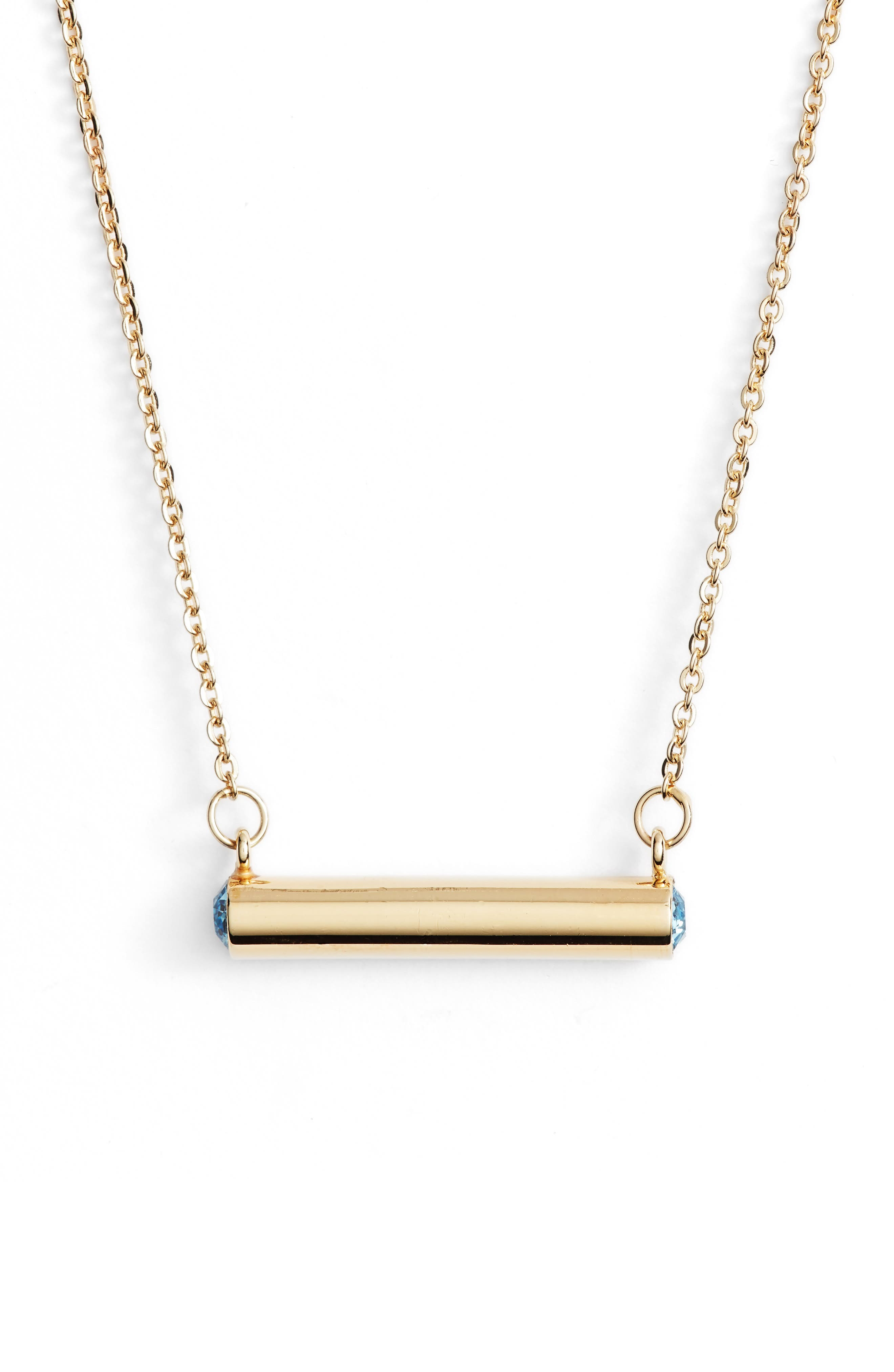 March Crystal Bar Pendant Necklace,                             Main thumbnail 1, color,                             Gold