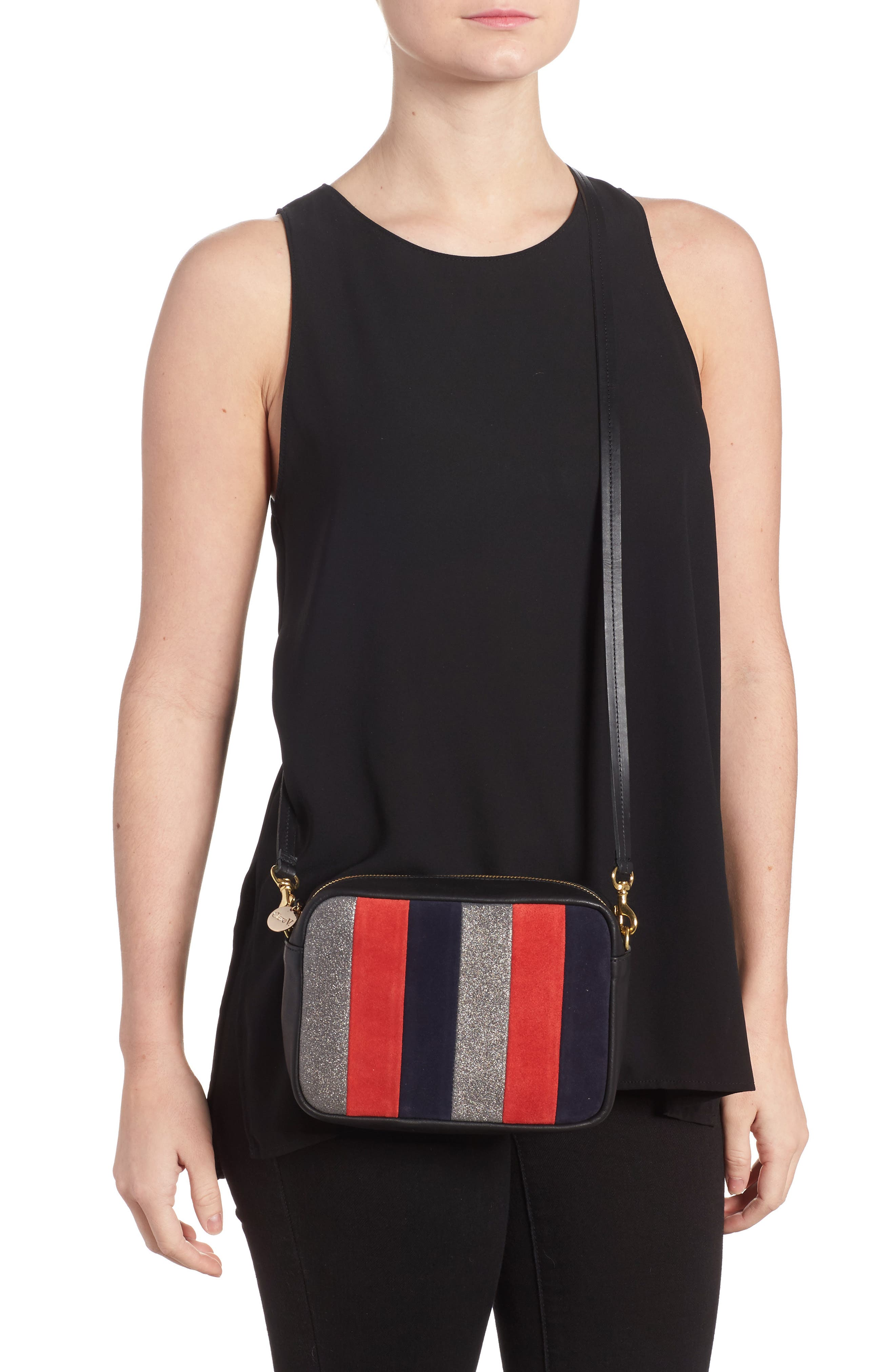 Midi Sac Stripe Leather Crossbody Bag by Clare V.