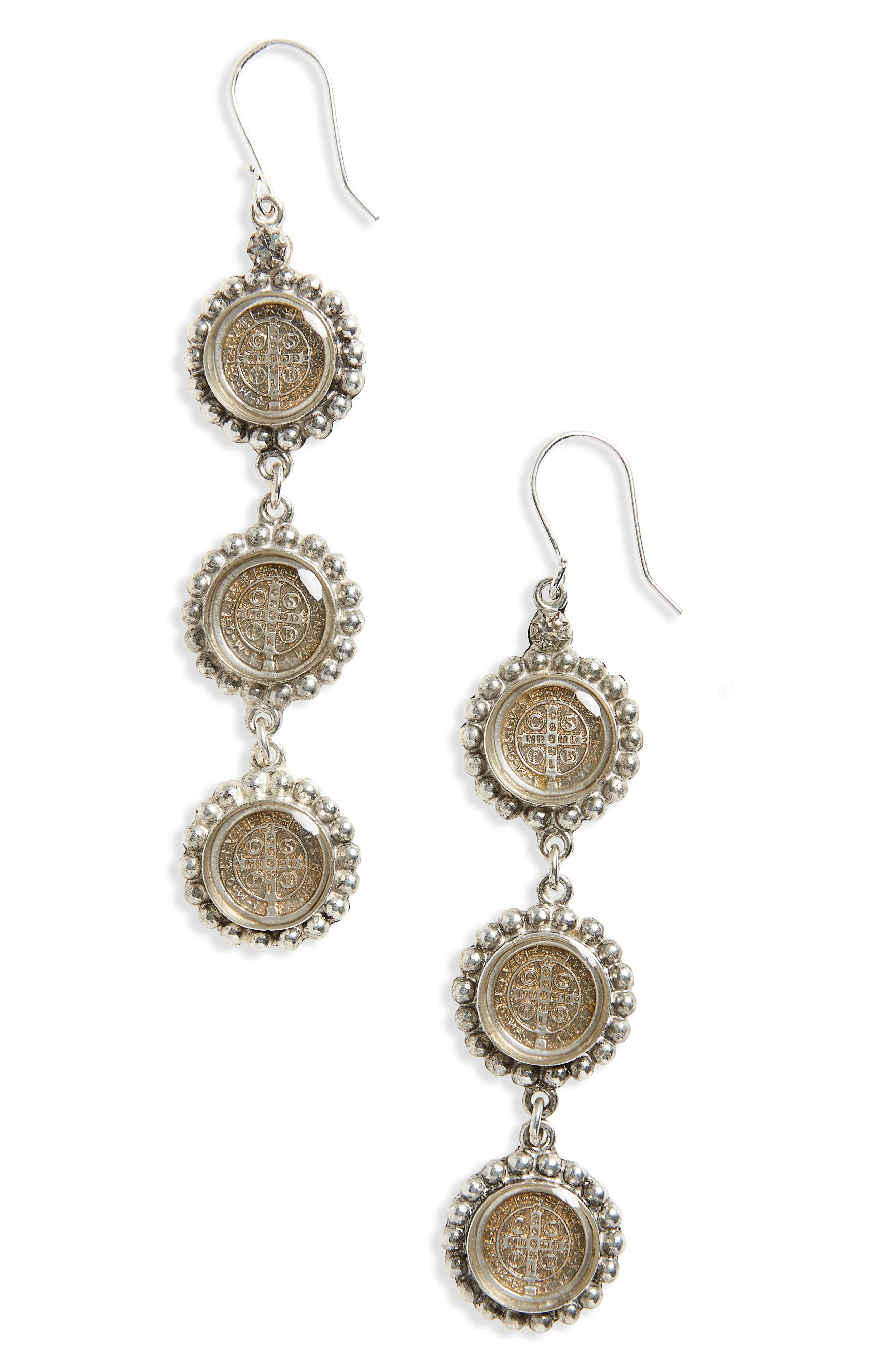 Alternate Image 1 Selected - Virgins Saints & Angels San Benito Cross Drop Earrings