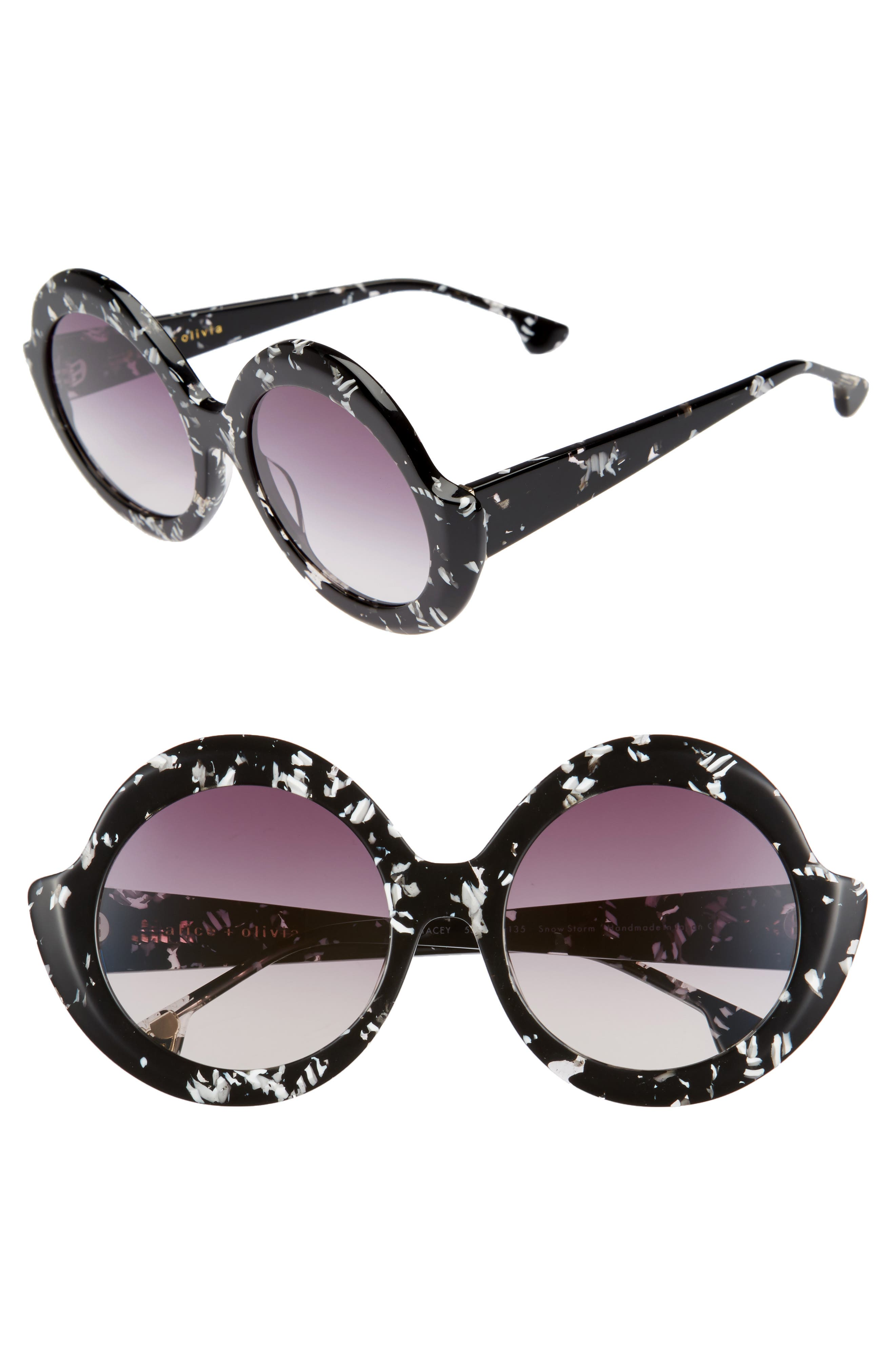 Main Image - Alice + Olivia Stacey 56mm Round Gradient Lens Sunglasses