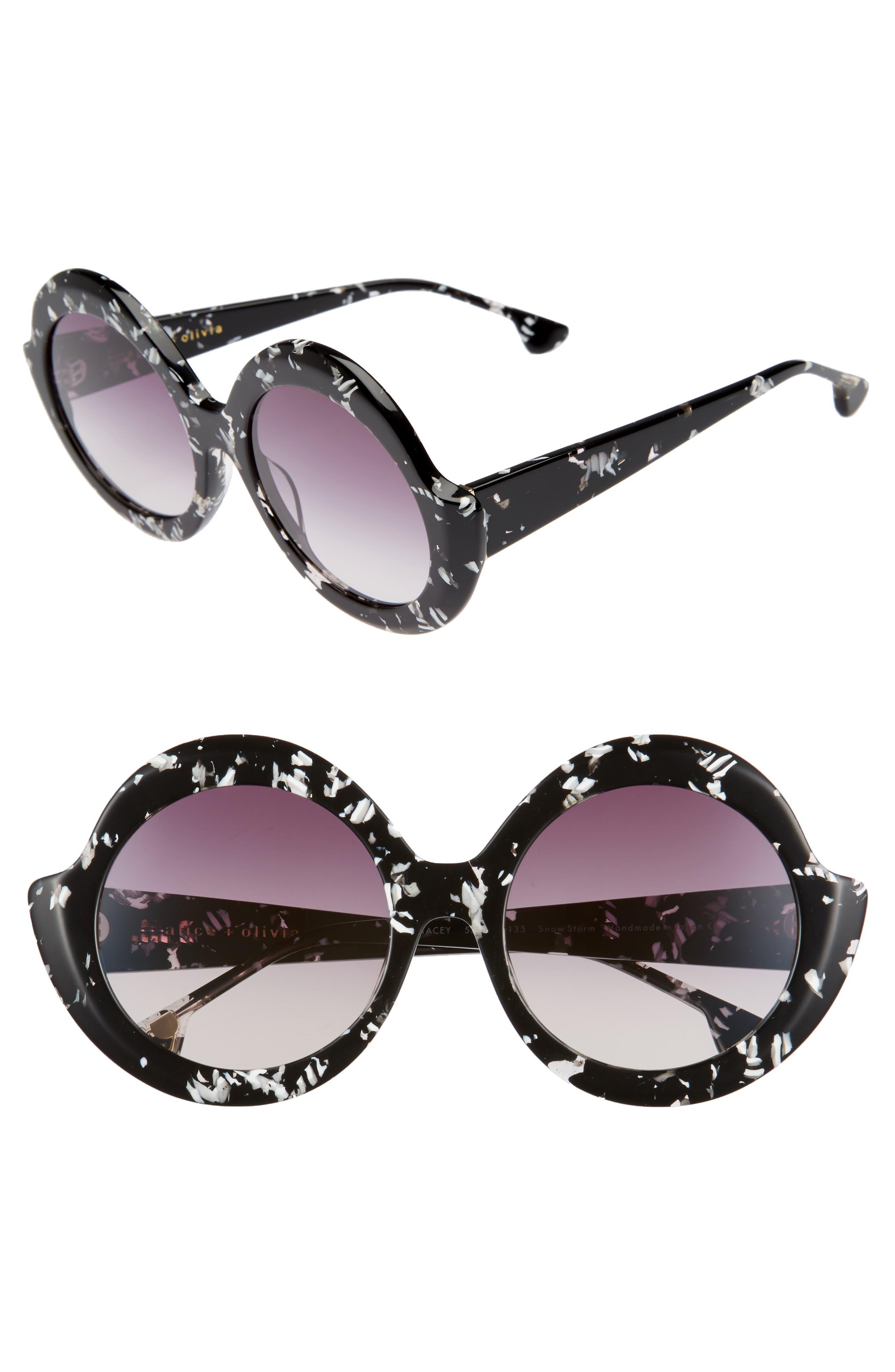 Stacey 56mm Round Gradient Lens Sunglasses,                         Main,                         color, Snow Storm