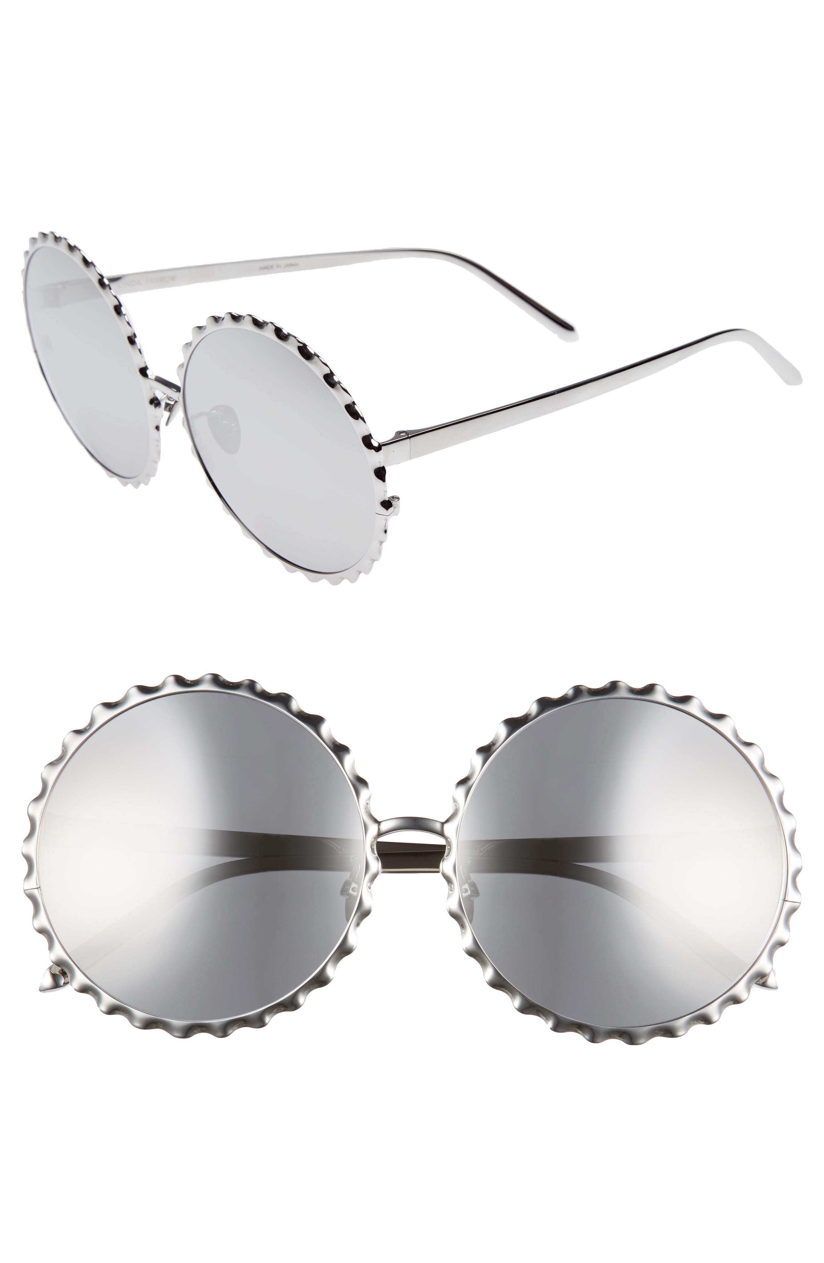 59mm Mirrored 18 Karat Gold Trim Round Sunglasses,                             Main thumbnail 1, color,                             White Gold/ Platinum